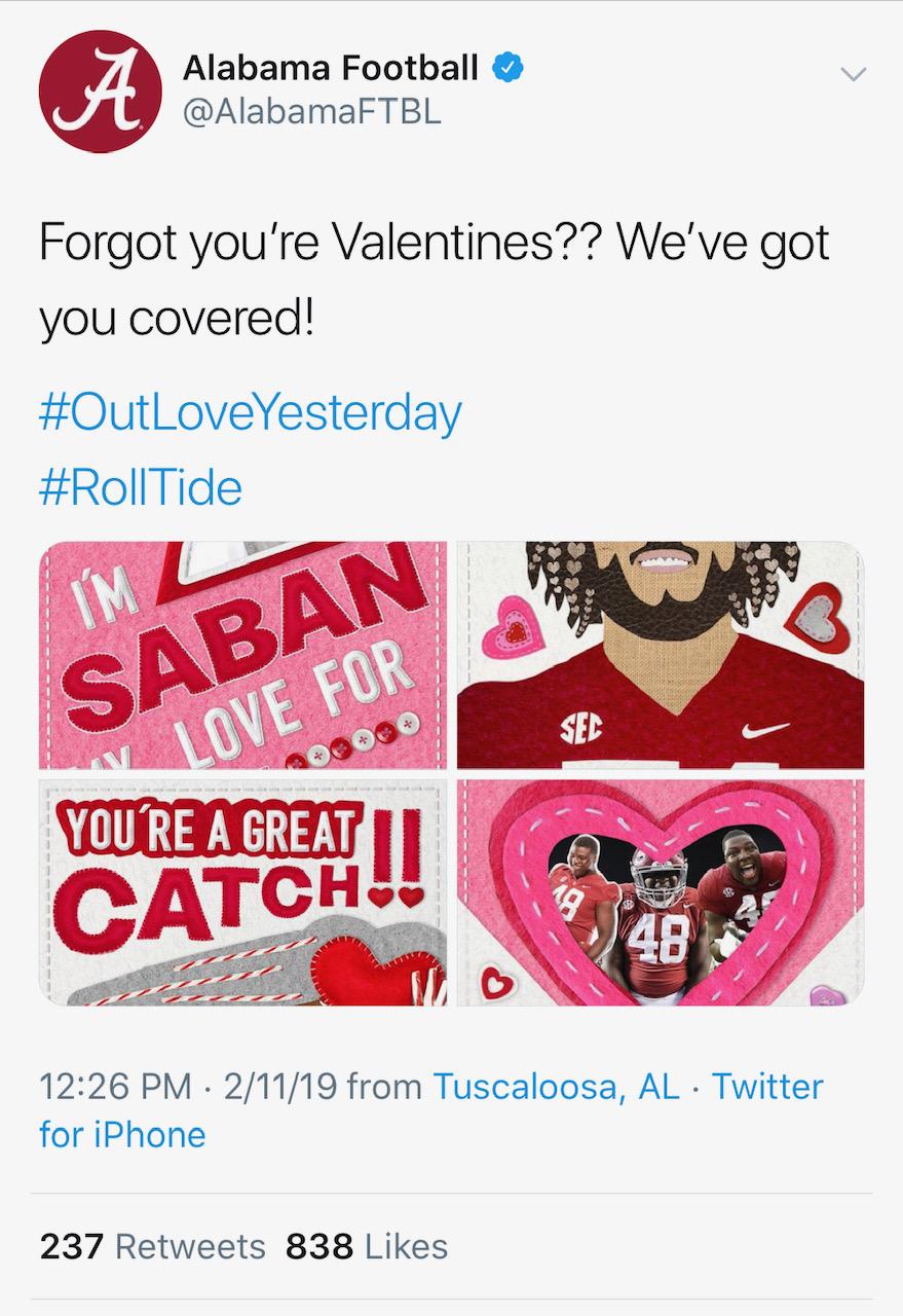 Alabama tweet error (Credit: Screenshot/Twitter https://twitter.com/alabamaftbl/status/1095011268153479168?s=21)