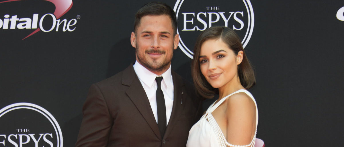 NFL player Danny Amendola (L) and model Olivia Culpo attend the 25th ESPYS at the Microsoft Theater on July 12, 2017 in Los Angeles, California. (Photo credit: VALERIE MACON/AFP/Getty Images)