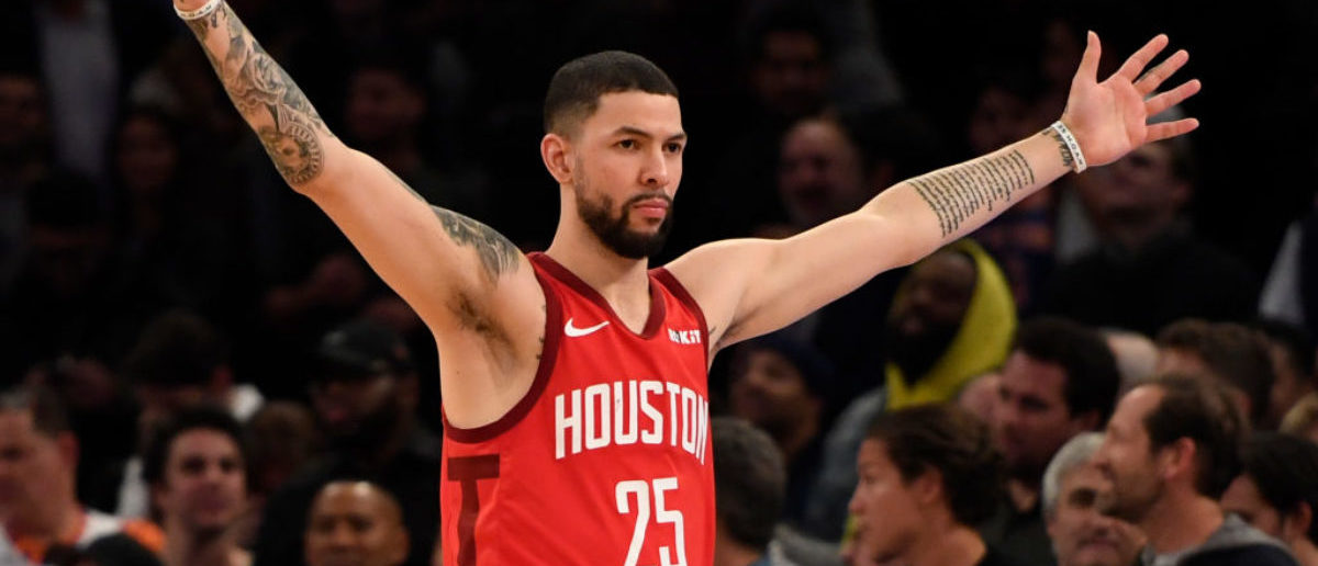 NEW YORK, NEW YORK - JANUARY 23: Austin Rivers #25 of the Houston Rockets reacts after scoring during the fourth quarter of the game against the New York Knicks at Madison Square Garden on January 23, 2019 in New York City. (Photo by Sarah Stier/Getty Images)