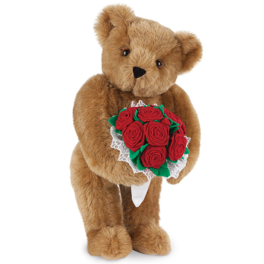 Normally $60, get this adorable plush teddy bear with a mini-bouquet for 25 percent off (Photo via Amazon)