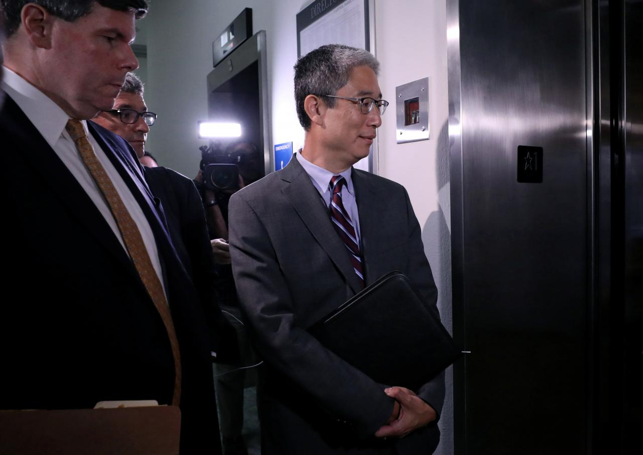 "Former Associate Deputy U.S. Attorney General Bruce Ohr enters an elevator after testifying behind closed doors before the House Judiciary and House Oversight and Government Reform Committees on his alleged contacts with Fusion GPS founder Glenn Simpson and former British spy Christopher Steele, who compiled a ""dossier"" of allegations linking Donald Trump to Russia, on Capitol Hill in Washington, U.S., Aug. 28, 2018. REUTERS/Chris Wattie"