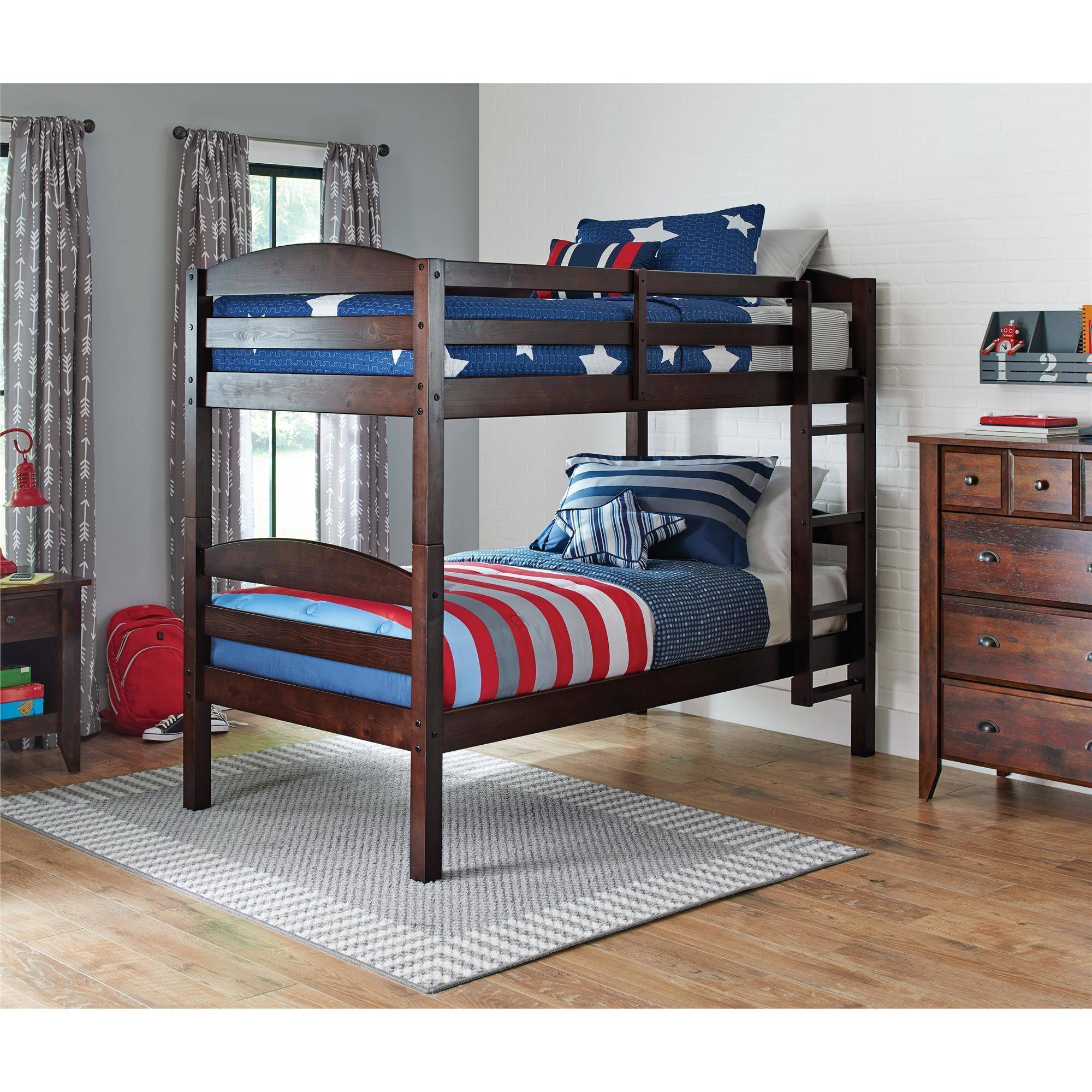 Get a new bunk-bed with multiple options for wood finishes starting at $159 (Photo via Walmart)