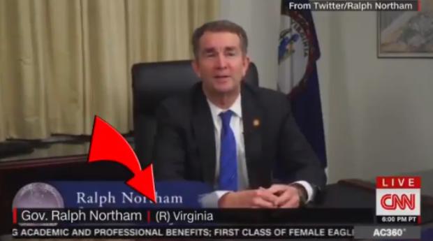CNN identifies Northam as a Republican (CNN screengrab, Caleb Hull Twitter)
