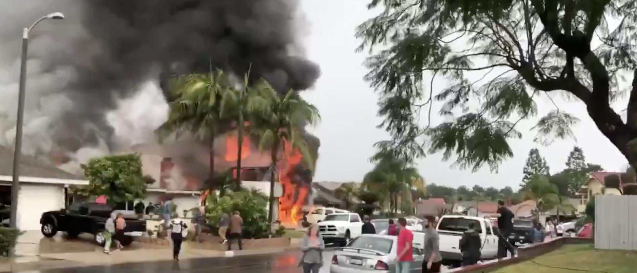 Yorba plane crash. Twitter screenshot/Joshua Nelson