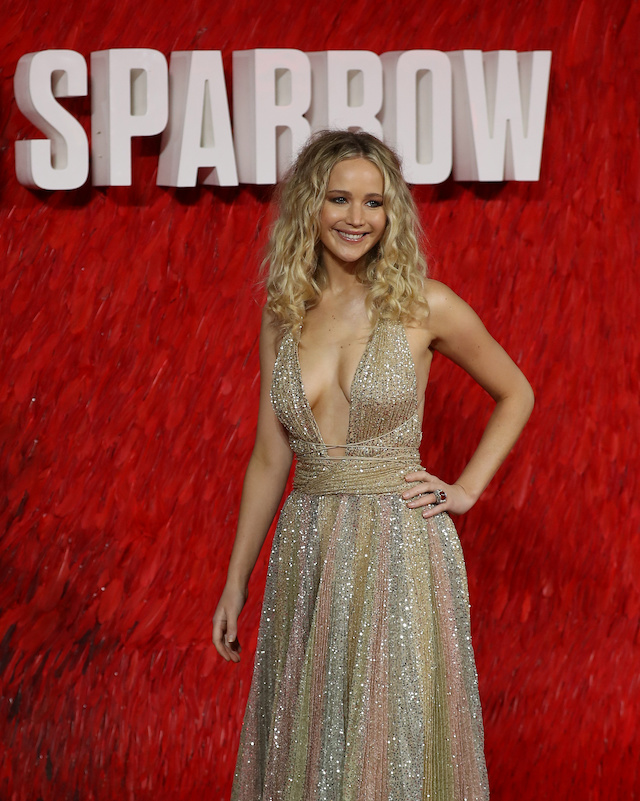 """Actor Jennifer Lawrence arrives for the European premiere of """"Red Sparrow"""" in London, Britain February 19, 2018. REUTERS/Simon Dawson"""