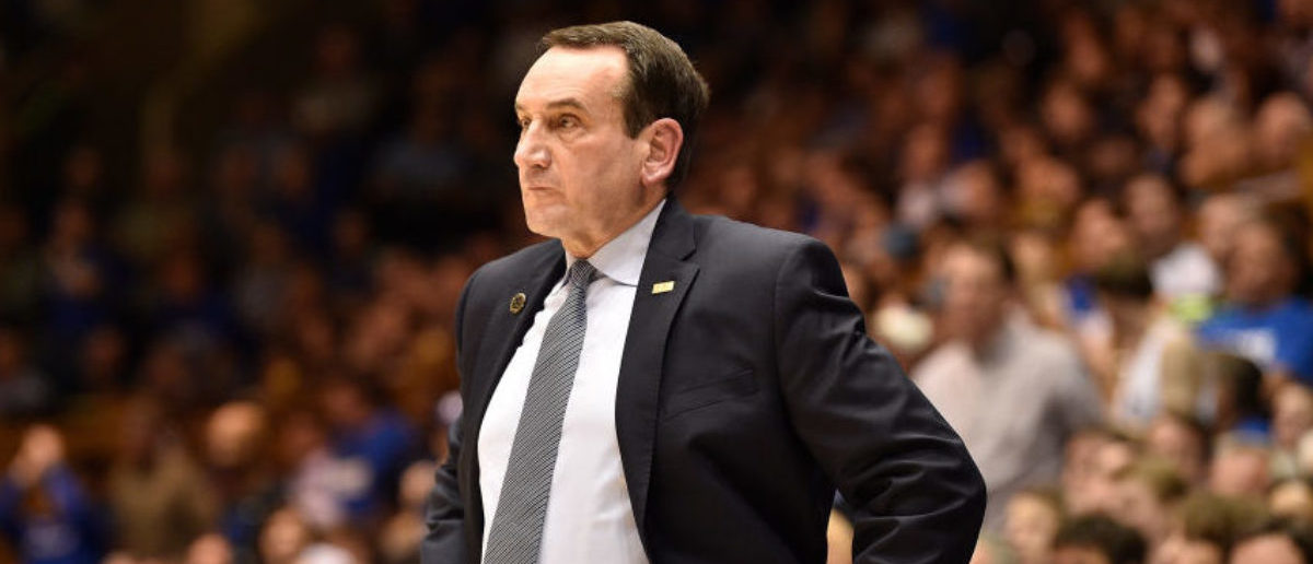 DURHAM, NORTH CAROLINA - FEBRUARY 05: Head coach Mike Krzyzewski of the Duke Blue Devils during their game against the Boston College Eagles at Cameron Indoor Stadium on February 05, 2019 in Durham, North Carolina. Duke won 80-55. (Photo by Grant Halverson/Getty Images)