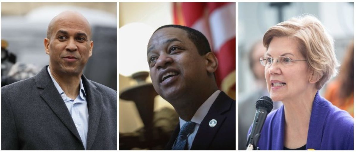 Cory Booker, Justin Fairfax, and Elizabeth Warren (LEFT: DOMINICK REUTER/AFP/Getty Images MIDDLE: Drew Angerer/Getty Images RIGHT: Scott Eisen/Getty Images)