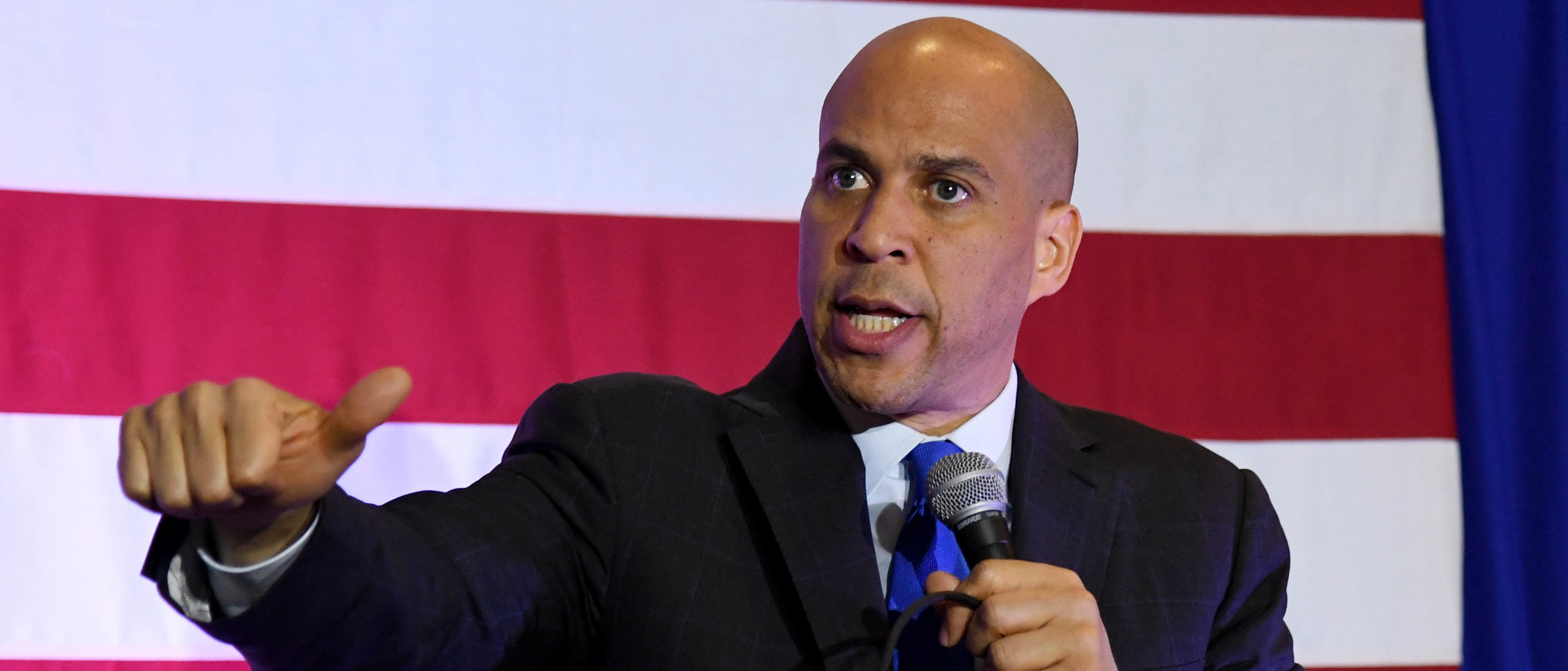 """U.S. Sen. Cory Booker (D-NJ) speaks at his """"Conversation with Cory"""" campaign event at the Nevada Partners Event Center on February 24, 2019 in North Las Vegas, Nevada. Booker is campaigning for the 2020 Democratic nomination for president. (Photo by Ethan Miller/Getty Images)"""