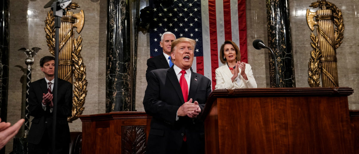 FEBRUARY 5, 2019 - WASHINGTON, DC: President Donald Trump delivered the State of the Union address at the Capitol in Washington, DC on February 5, 2019. Doug Mills/Pool via REUTERS