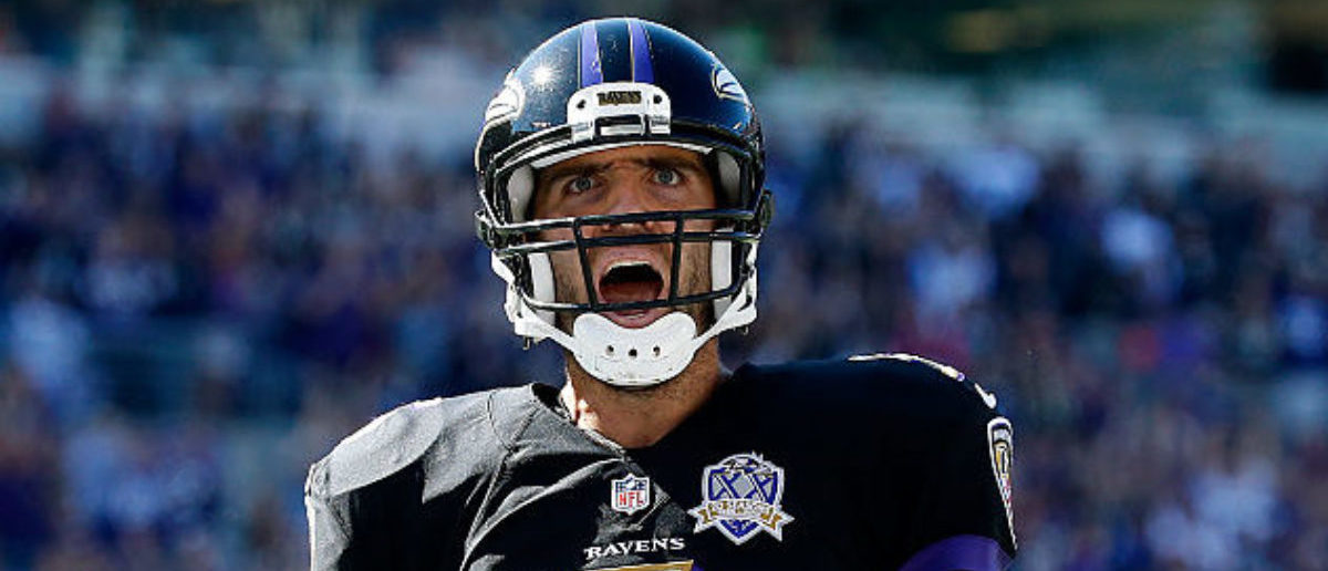 BALTIMORE, MD - OCTOBER 11: Quarterback Joe Flacco #5 of the Baltimore Ravens celebrates after scoring a first quarter touchdown during a game against the Cleveland Browns at M&T Bank Stadium on October 11, 2015 in Baltimore, Maryland. (Photo by Rob Carr/Getty Images)