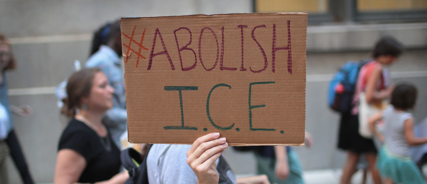 CHICAGO, IL - AUGUST 16: Demonstrators march through downtown calling for the abolition of the U.S. Immigration and Customs Enforcement (ICE) on August 16, 2018 in Chicago, Illinois. The demonstrators were also calling for defunding local police. (Photo by Scott Olson/Getty Images)