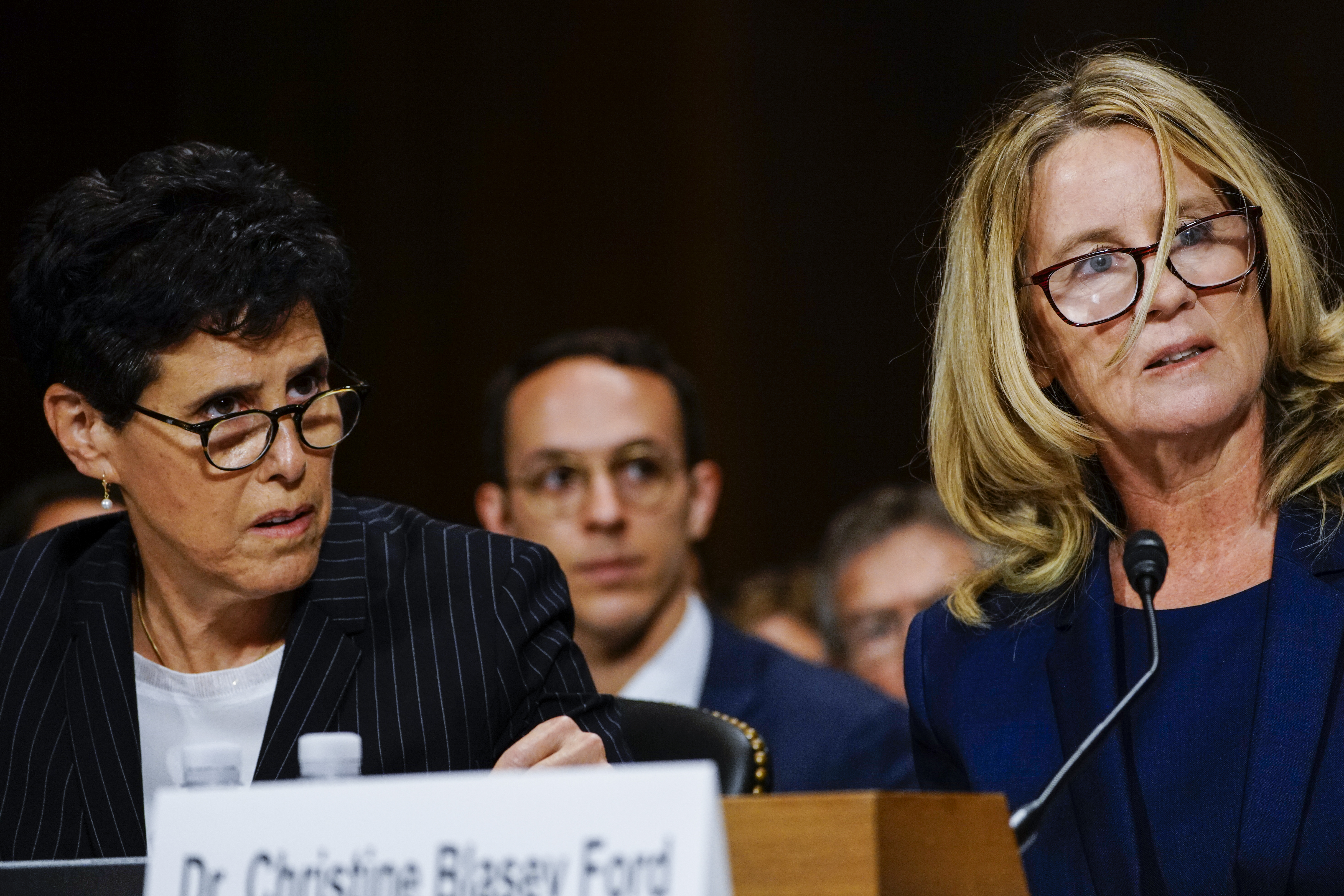 WASHINGTON, DC - SEPTEMBER 27: Dr. Christine Blasey Ford, with lawyer Debra S. Katz, left, answers questions at a Senate Judiciary Committee hearing in the Dirksen Senate Office Building on Capitol Hill September 27, 2018 in Washington, DC. (Melina Mara-Pool/Getty Images)