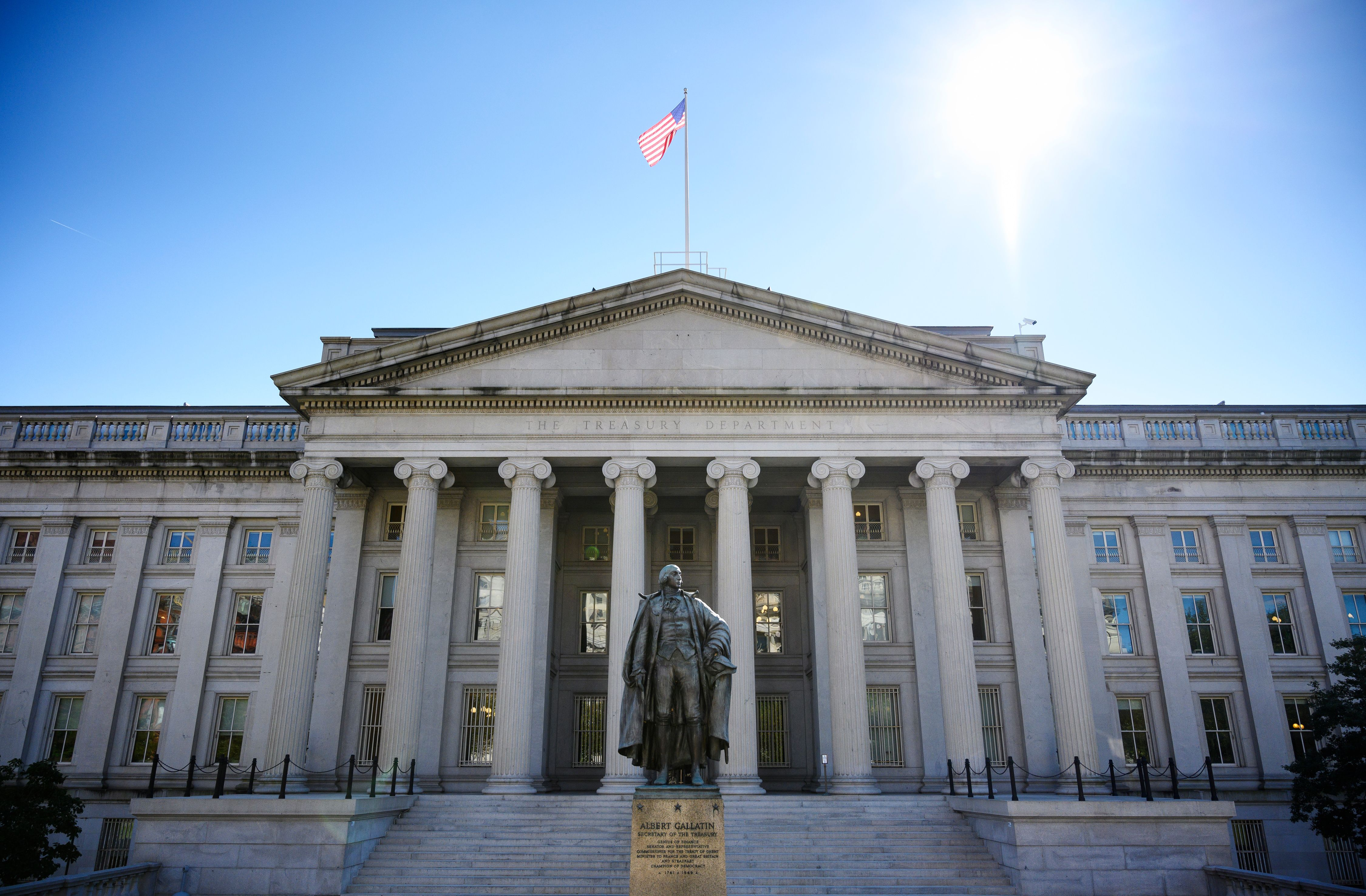 An October 18, 2018 photo shows the US Treasury Department building in Washington, DC. (MANDEL NGAN/AFP/Getty Images)