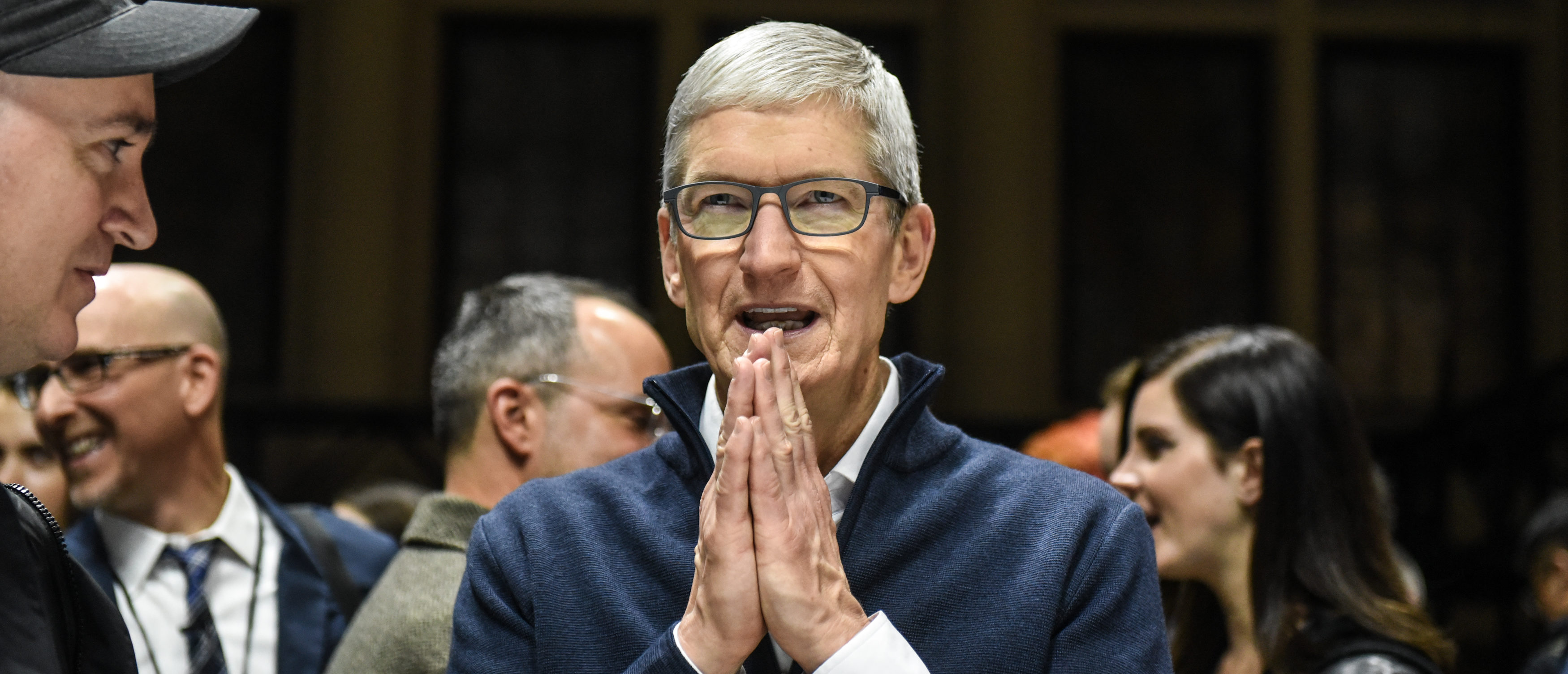 NEW YORK, NY - OCTOBER 30: Tim Cook, CEO of Apple speaks while unveiling new products during a launch event at the Brooklyn Academy of Music on October 30, 2018 in New York City. (Stephanie Keith/Getty Images)