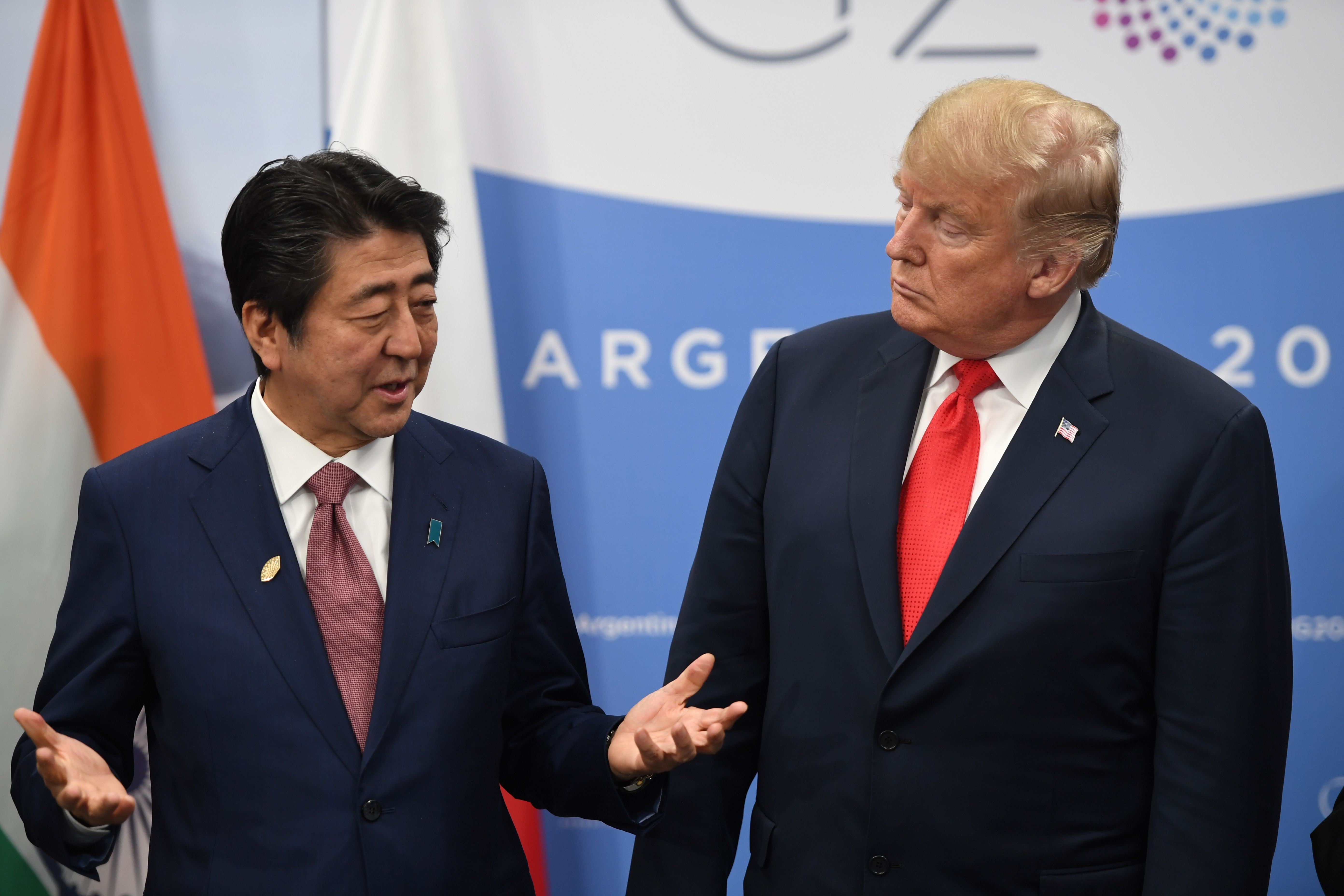 Japan's Prime Minister Shinzo Abe speaks with US President Donald Trump during a meeting in the sidelines of the G20 Leaders' Summit in Buenos Aires, on November 30, 2018. (SAUL LOEB/AFP/Getty Images)