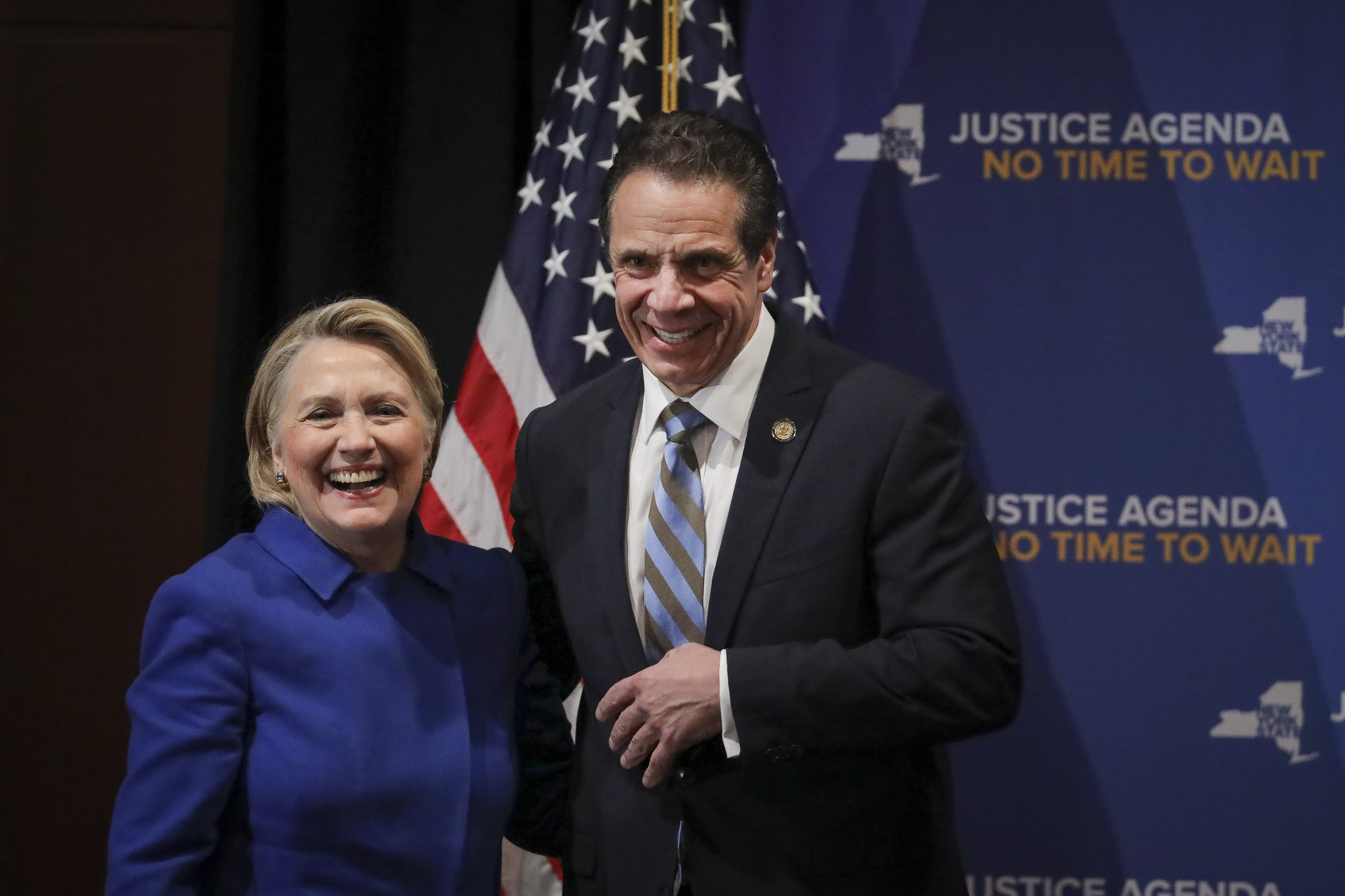 NEW YORK, NY - JANUARY 7: (L-R) Former Secretary of State Hillary Clinton and New York Governor Andrew Cuomo smile at the end of an event to discuss reproductive rights at Barnard College, January 7, 2019 in New York City. The two Democrats shared the stage to promote the Reproductive Health Act in New York, which Cuomo wants the State Legislature to pass in their first 30 days. Under New York's current law, abortions after 24 weeks are illegal unless its necessary to save the woman's life. (Photo by Drew Angerer/Getty Images)