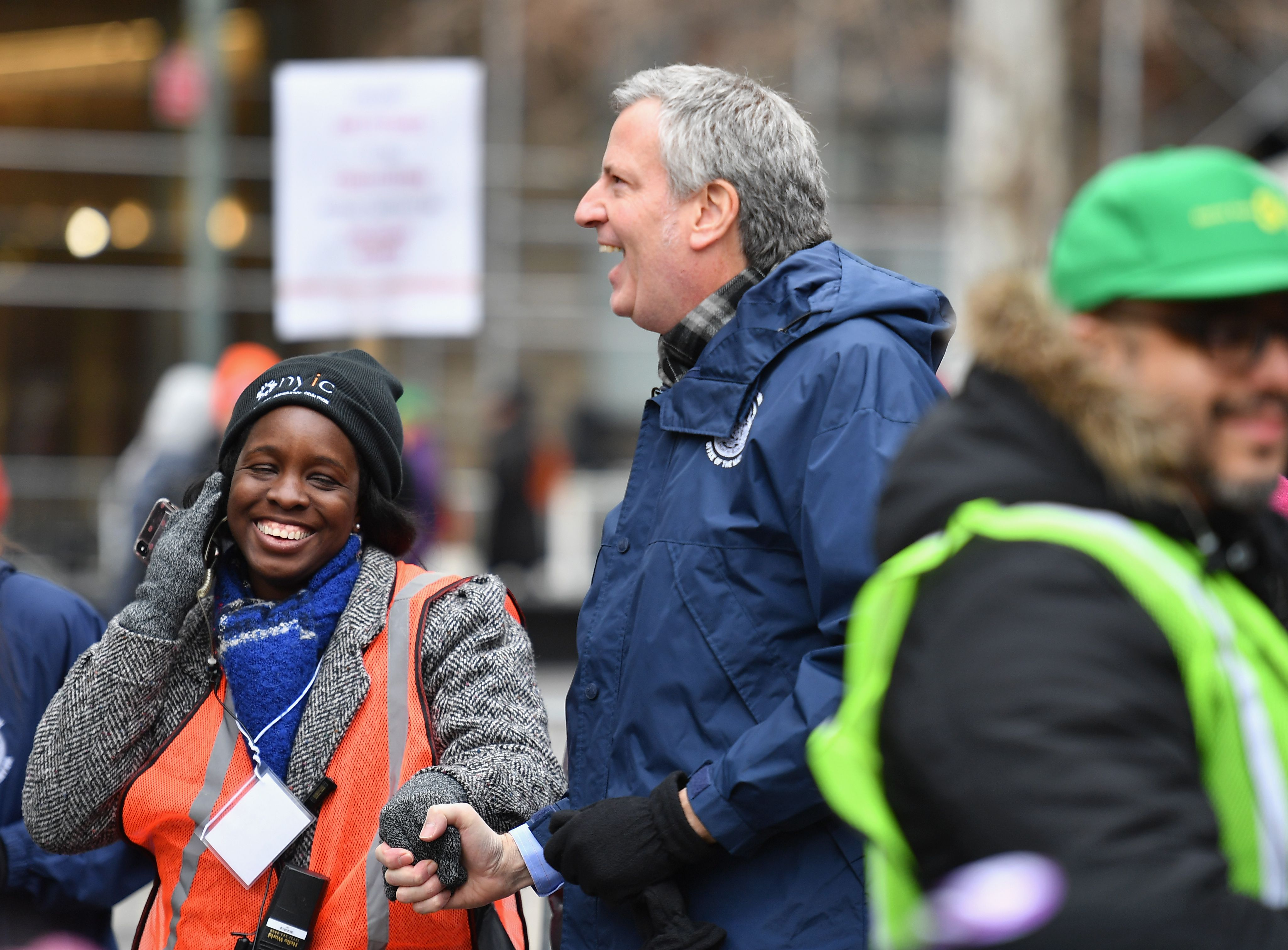 Mayor of New York Bill de Blasio watches as his wife Chirlane McCray speaks at the Women's Unity Rally at Foley Square on January 19, 2019 in New York City. (ANGELA WEISS/AFP/Getty Images)