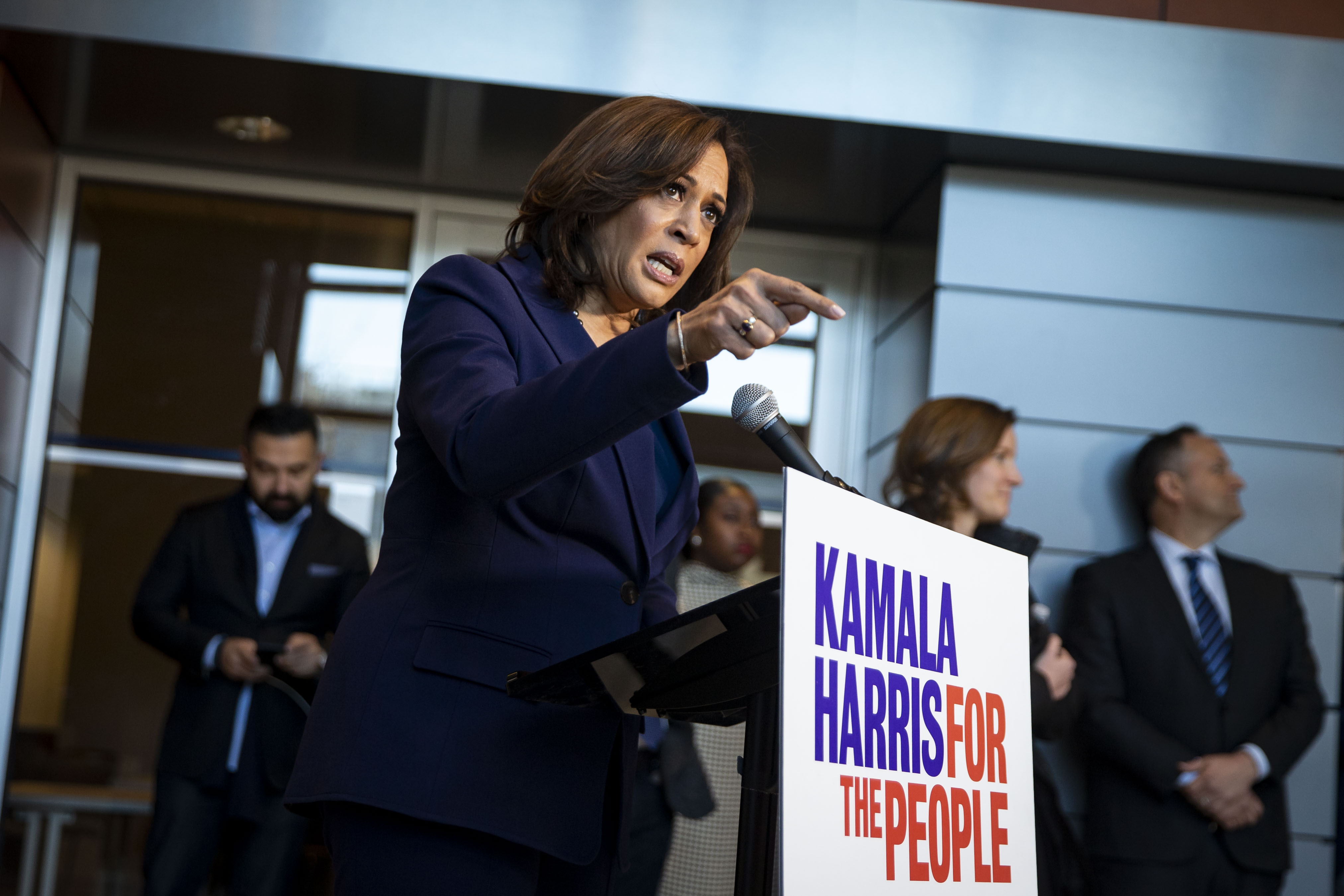 U.S. Sen. Kamala Harris speaks to reporters after announcing her candidacy for President of the United States, at Howard University, her alma mater, on January 21, 2019 in Washington, DC. (Photo by Al Drago/Getty Images)
