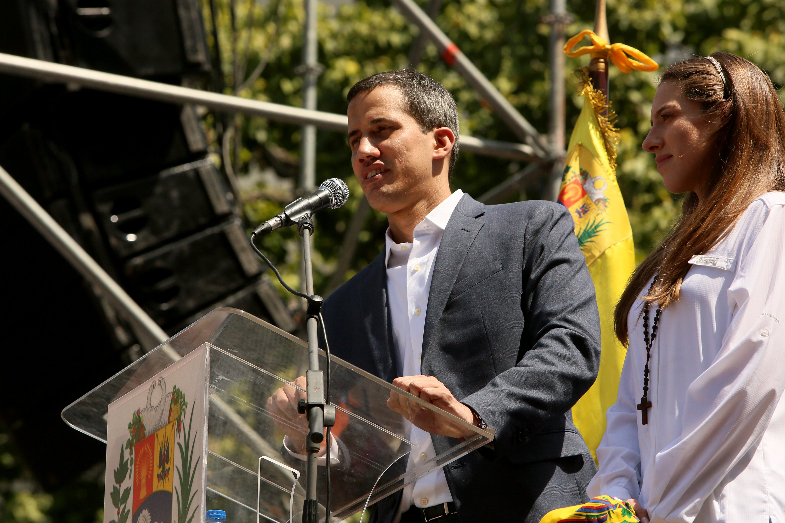 CARACAS, VENEZUELA - FEBRUARY 02: Juan Guaido speaks to demonstrators during a protest against the government of Nicolás Maduro on February 2, 2019 in Caracas, Venezuela. Venezuela's self-declared president and accepted by over 20 countries, Juan Guaidó, called Venezuelans to the streets and demands the resignation of Nicolás Maduro. (Edilzon Gamez/Getty Images)