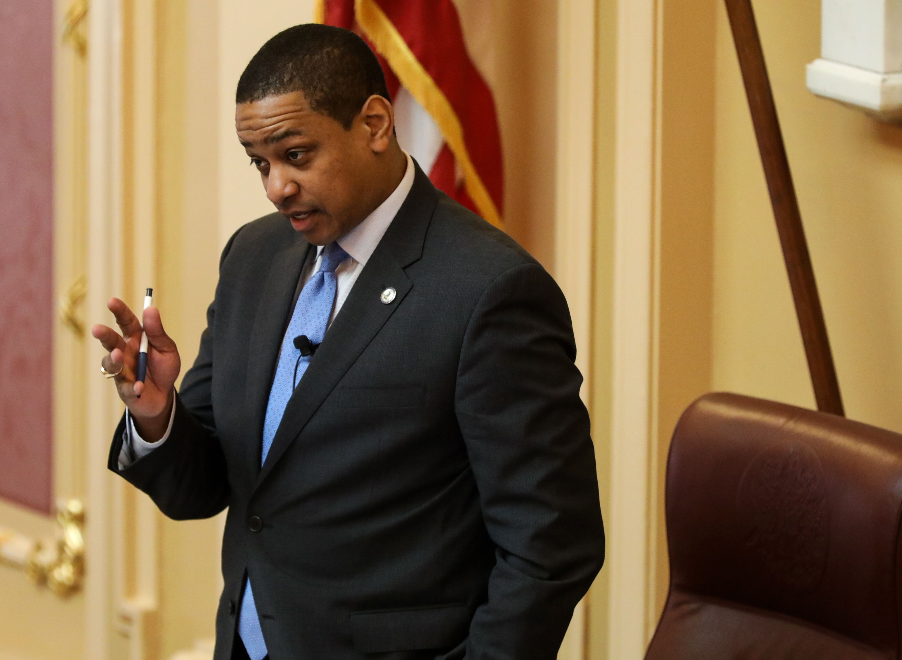 Virginia Lieutenant Governor Justin Fairfax presides over a session of the state senate inside the capital building in dowtown Richmond, on February 4, 2019. (LOGAN CYRUS/AFP/Getty Images)