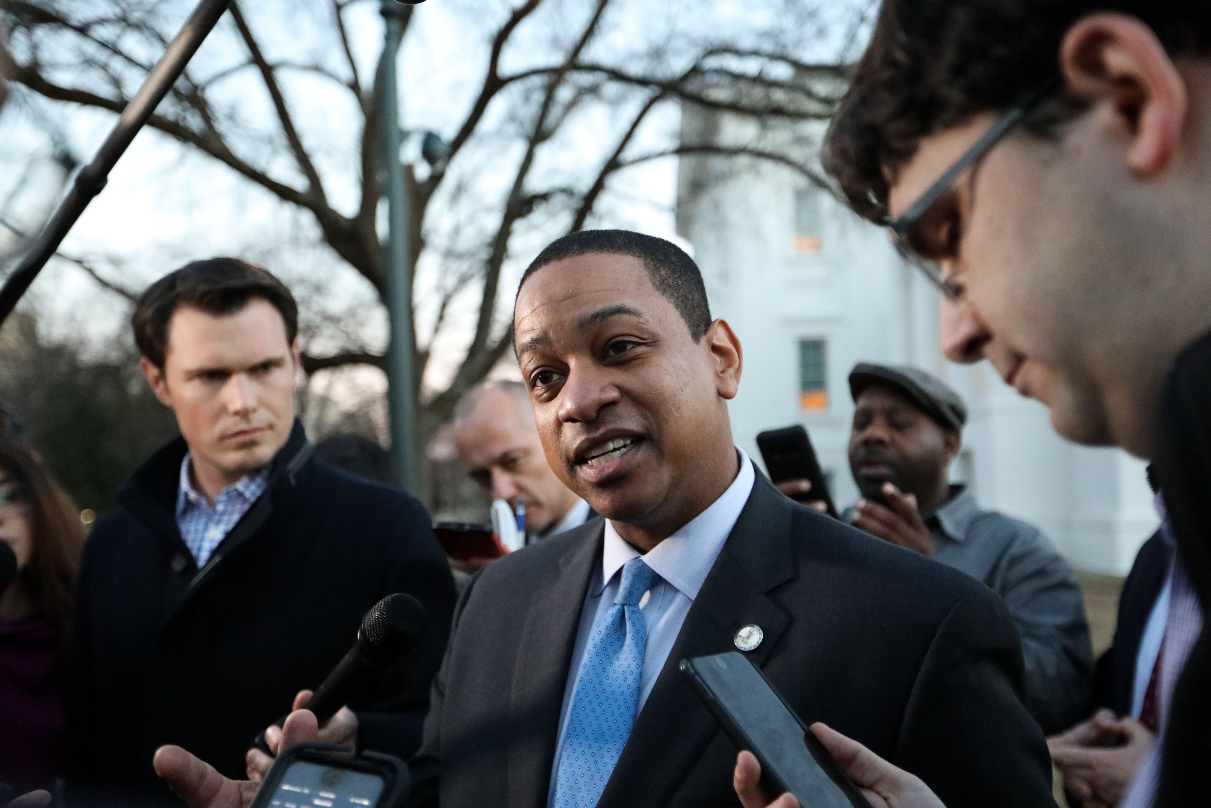 Virginia Lieutenant Governor Justin Fairfax addresses the media about a sexual assualt allegation from 2004 outside of the capital building in dowtown Richmond, February 4, 2019. (LOGAN CYRUS/AFP/Getty Images)