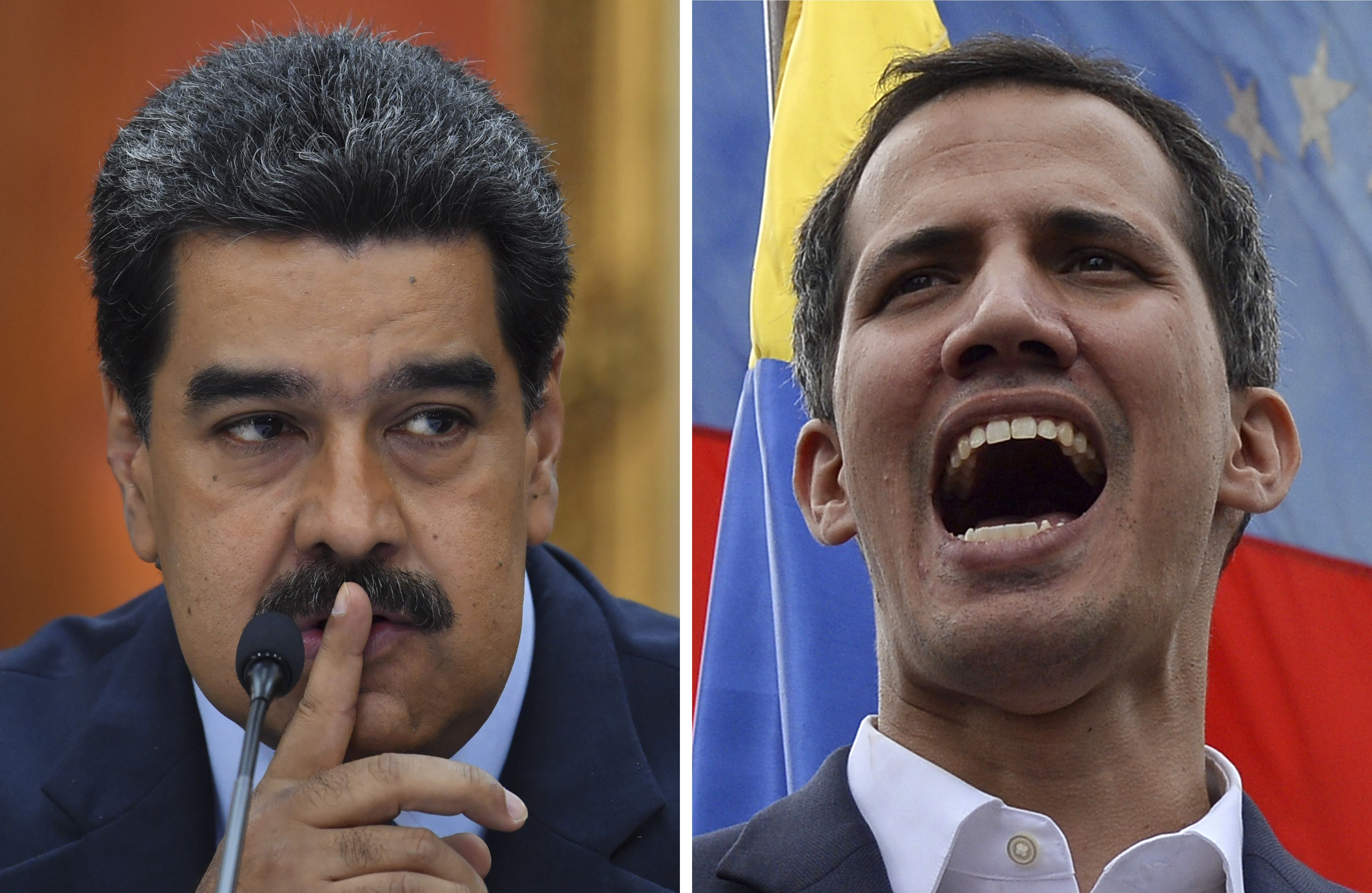 This combination of pictures created on February 5, 2019 shows Venezuelan President Nicolas Maduro gesturing during a press conference at Miraflores Presidential Palace in Caracas, on January 9, 2019 and Venezuela's National Assembly head Juan Guaido addressing the crowd during a mass opposition rally in Caracas on January 23, 2019. - International clamor for snap elections in Venezuela intensified as European powers recognized opposition chief Juan Guaido as interim leader, after President Nicolas Maduro rejected an ultimatum to call early voting. (STF/AFP/Getty Images)