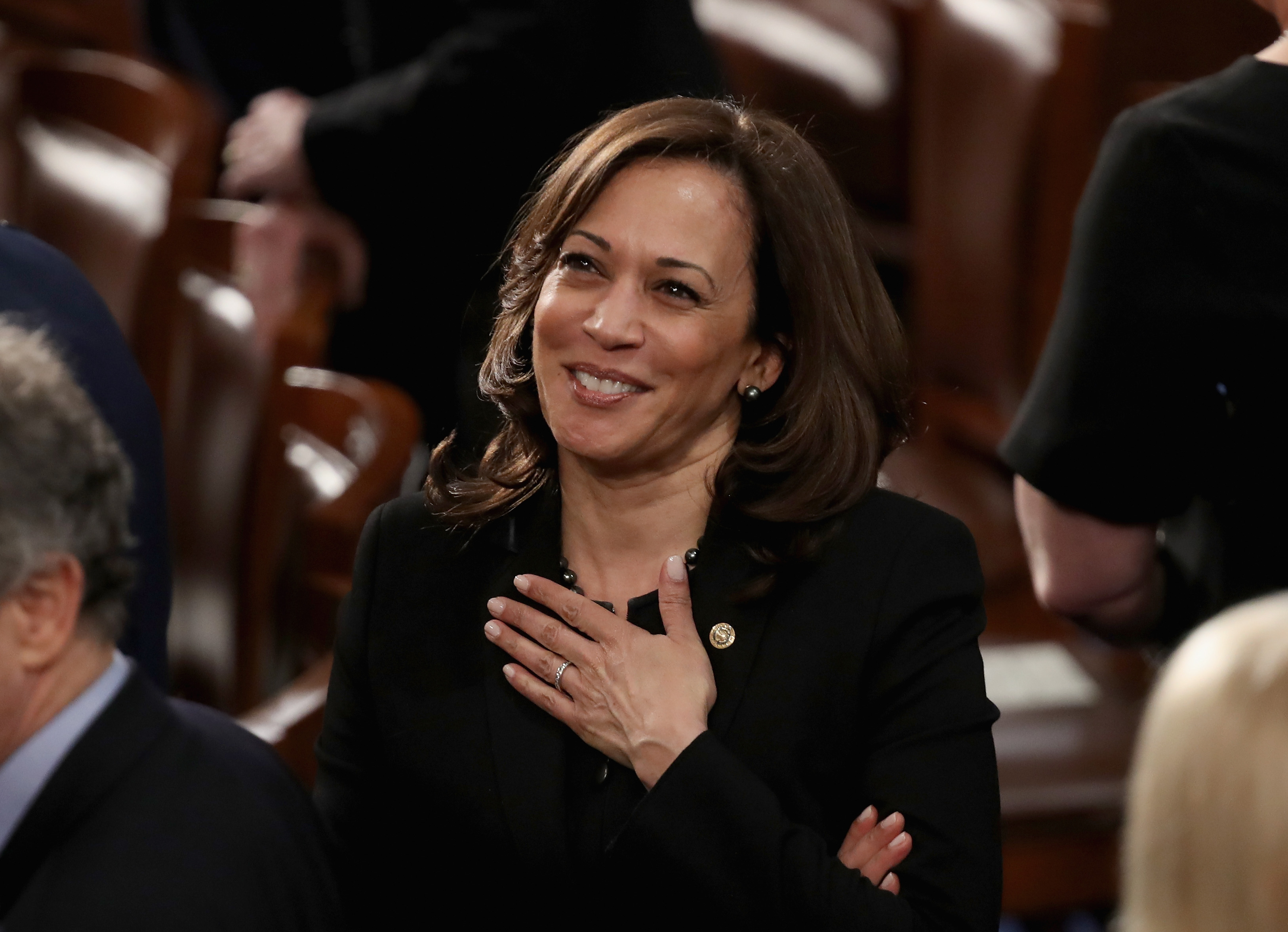 WASHINGTON, DC - FEBRUARY 05: Sen. Kamala Harris (D-CA) greets fellow lawmakers ahead of the State of the Union address in the chamber of the U.S. House of Representatives on February 5, 2019 in Washington, DC. President Trump's second State of the Union address was postponed one week due to the partial government shutdown. (Win McNamee/Getty Images)