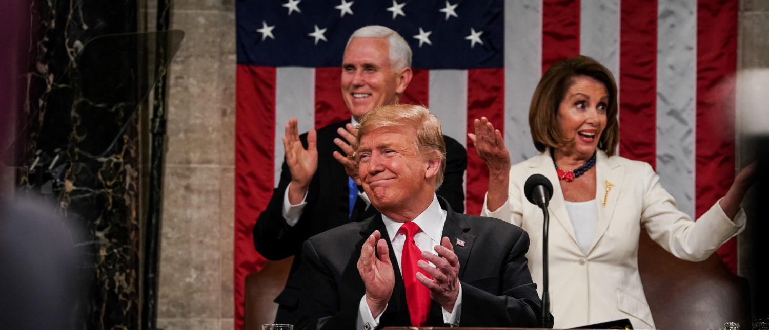 WASHINGTON, DC - FEBRUARY 5: U.S. President Donald Trump, Speaker Nancy Pelosi and Vice President Mike Pence applaud during the State of the Union address in the chamber of the U.S. House of Representatives at the U.S. Capitol Building on February 5, 2019 in Washington, DC. President Trump's second State of the Union address was postponed one week due to the partial government shutdown. (Photo by Doug Mills-Pool/Getty Images)