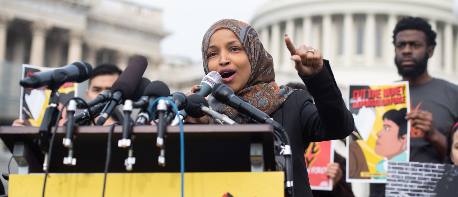 US Representative Ilhan Omar, Democrat of Minnesota, speaks during a press conference calling on Congress to cut funding for US Immigration and Customs Enforcement (ICE) and to defund border detention facilities, outside the US Capitol in Washington, DC, February 7, 2019. (SAUL LOEB/AFP/Getty Images)