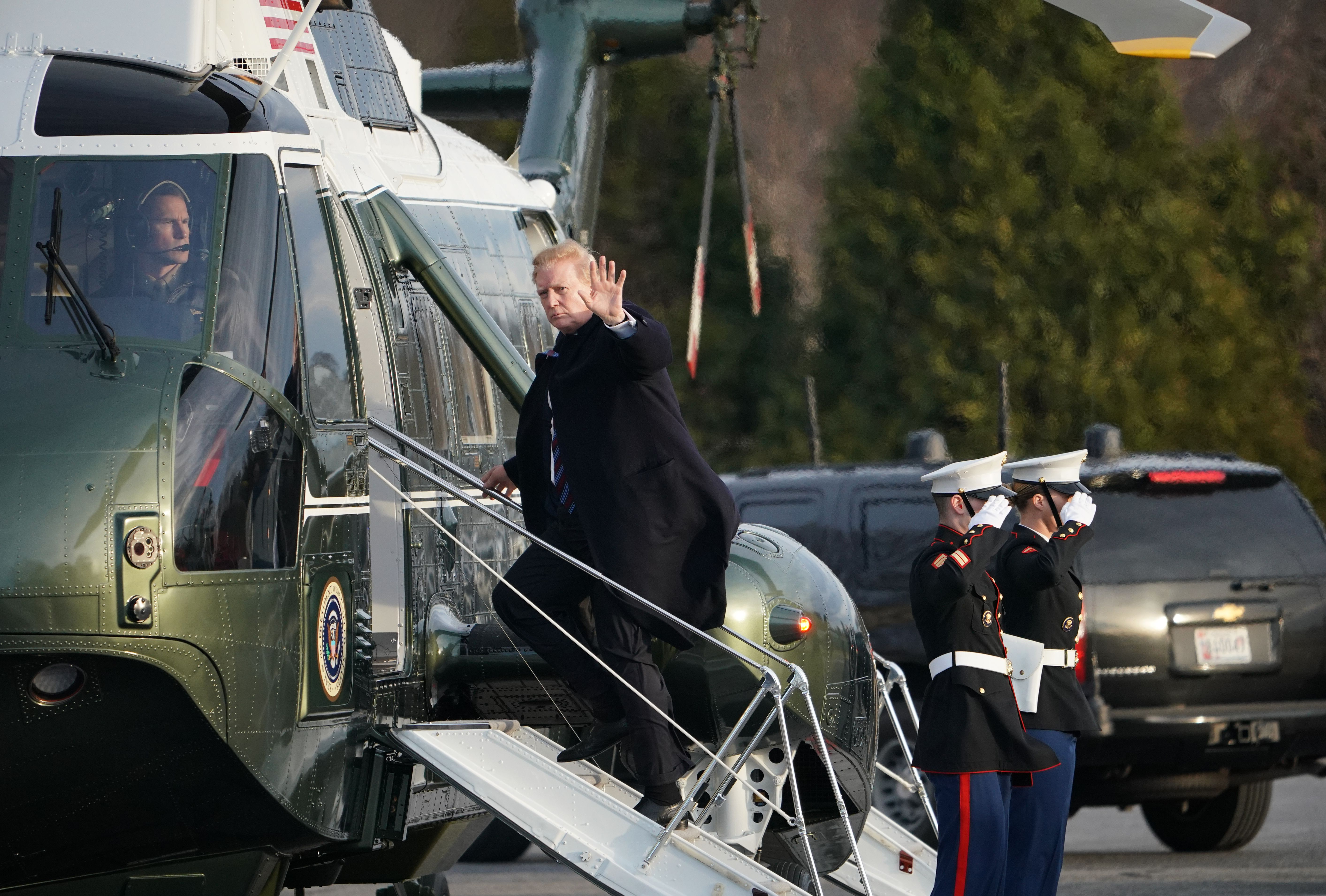 US President Donald Trump boards Marine One as he departs from the Walter Reed National Military Medical Center in Bethesda, Maryland on February 8, 2019. (MANDEL NGAN/AFP/Getty Images)