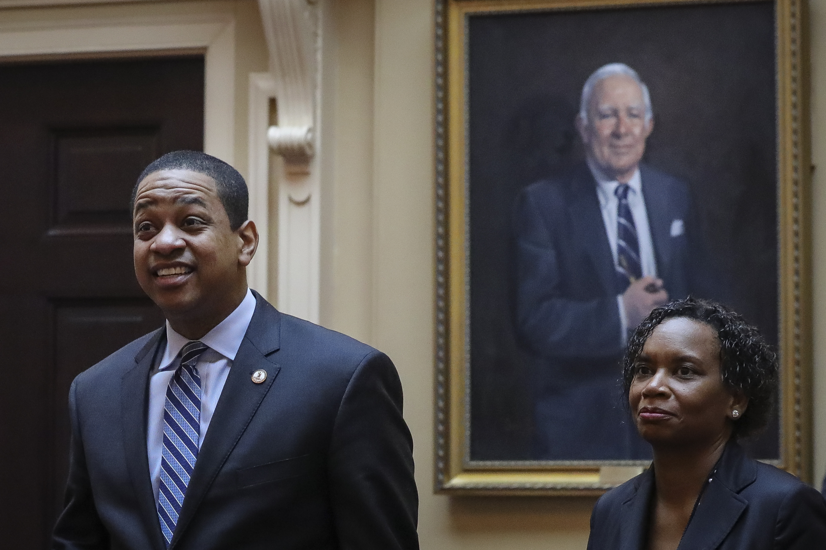 RICHMOND, VA - FEBRUARY 08: Virginia Lt. Governor Justin Fairfax (L) arrives on the Senate floor at the Virginia State Capitol, February 8, 2019 in Richmond, Virginia. (Drew Angerer/Getty Images)