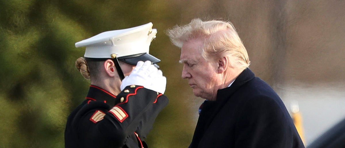 U.S. President Donald Trump walks to Marine One after receiving his annual physical exam at Walter Reed National Military Medical Center on February 8, 2019 in Bethesda, Maryland. (Photo by Oliver Contreras-Pool/Getty Images)