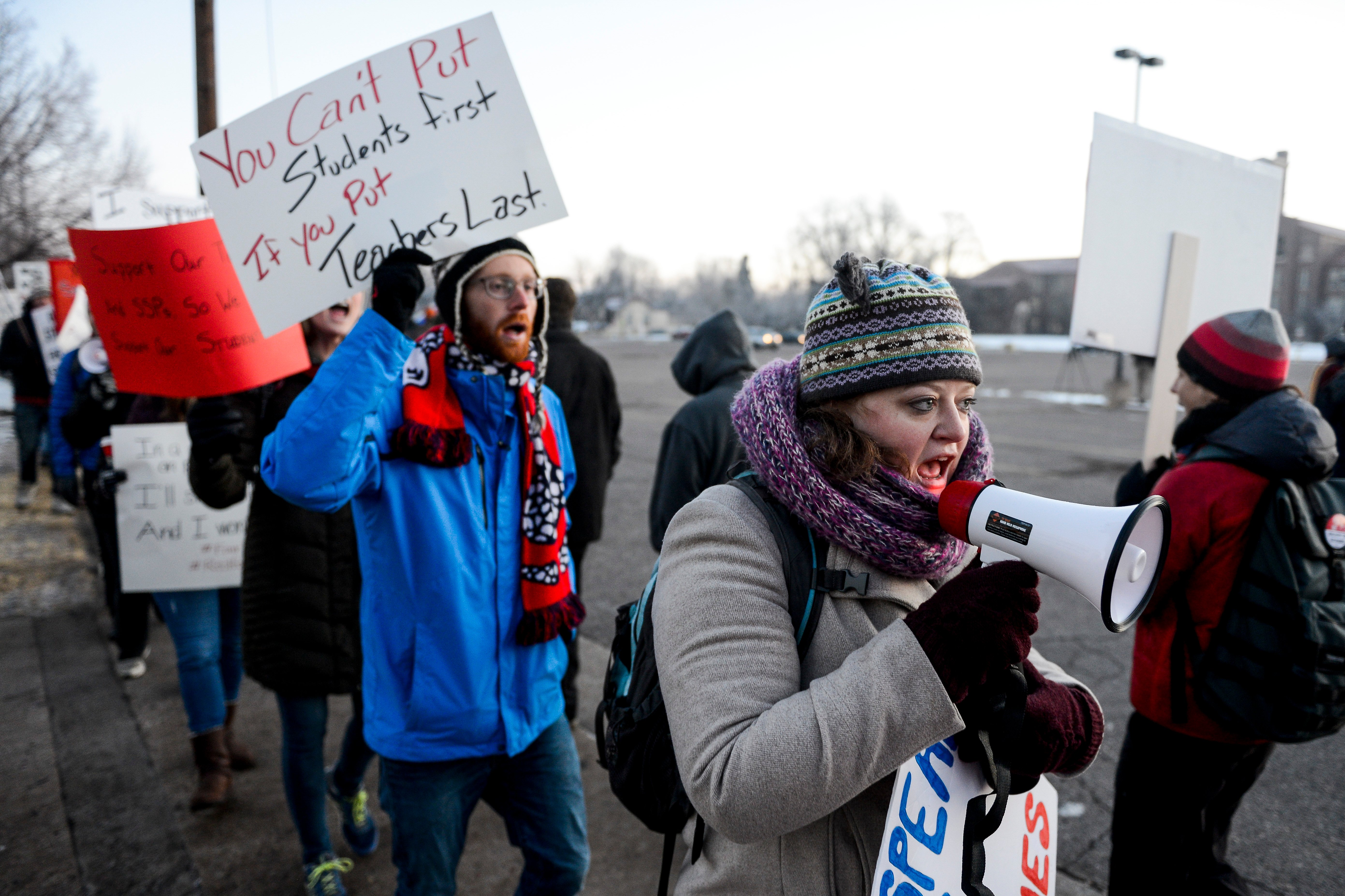 DENVER, CO - FEBRUARY 11: Denver Public Schools teachers and members of the community picket outside South High School on February 11, 2019 in Denver, Colorado. (Michael Ciaglo/Getty Images)