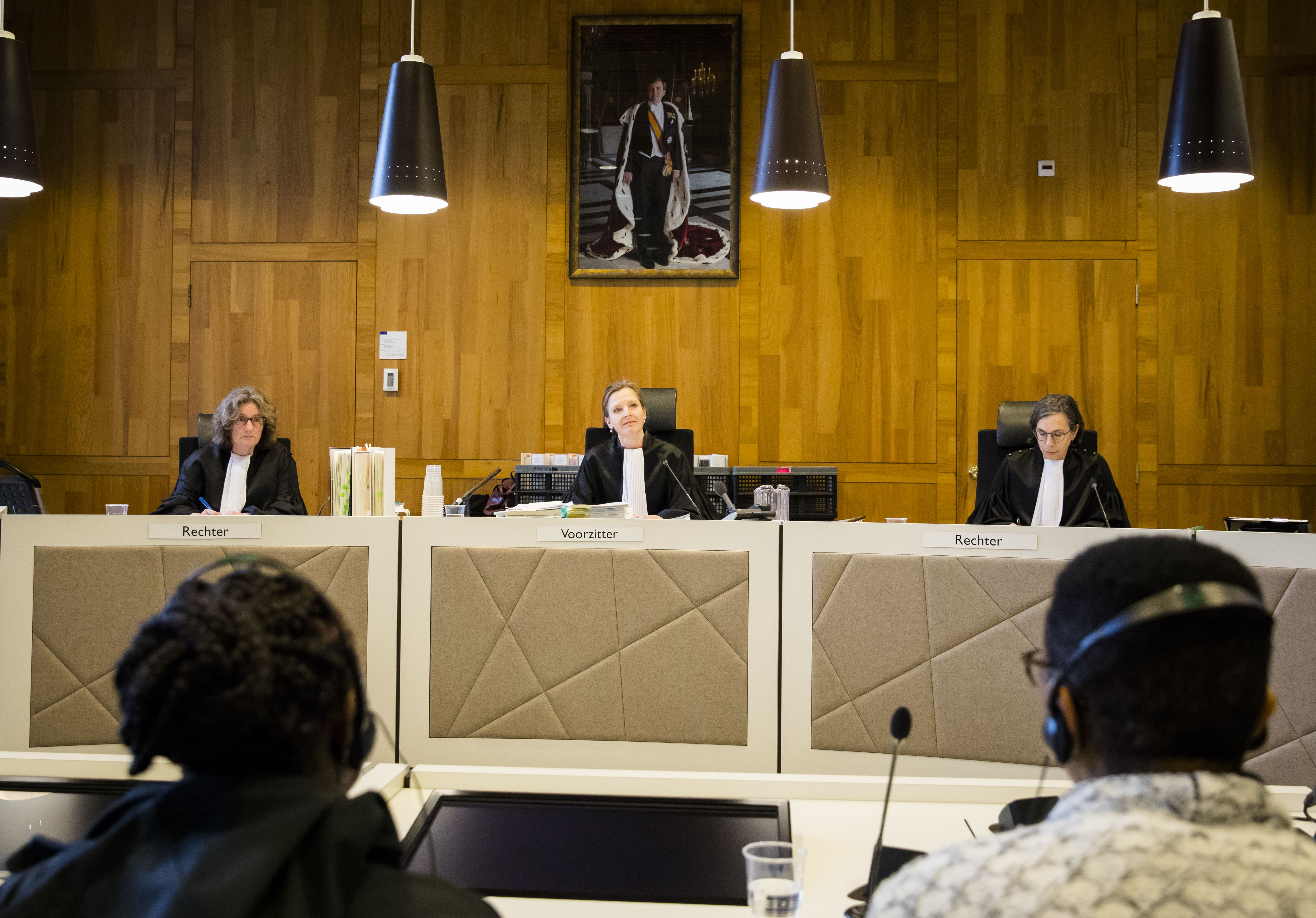 (L-R) Judges Bowine Meijer, Larisa Alwin (Chairman) and Anette Bordes attend a civil court case trial against Dutch-British multinational oil company Shell in The Hague courthouse on February 12, 2019 (BART MAAT/AFP/Getty Images)
