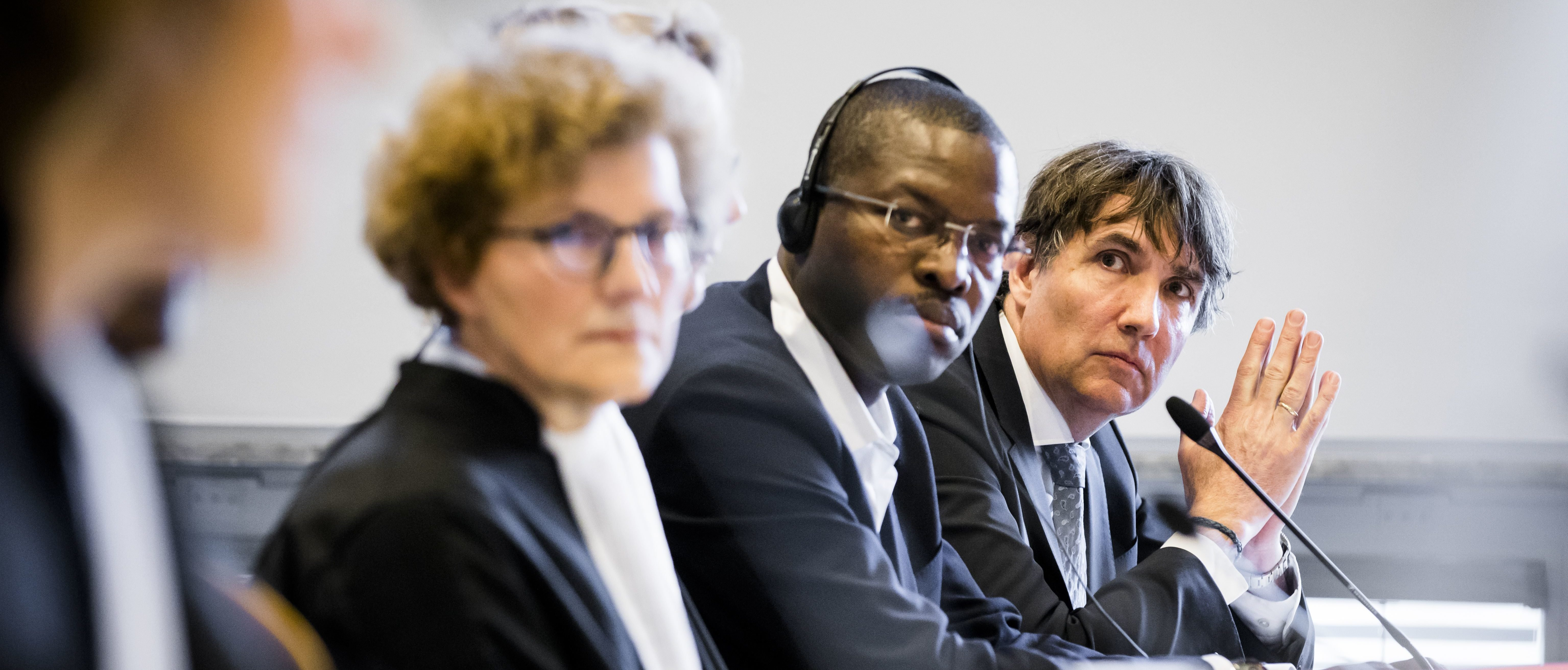 (L-R) The lawyers of Shell, Mette van Asperen, Wemmeke Wisman, Igo Wel and Bas Pries attend a civil court case trial against Dutch-British multinational oil company Shell in The Hague courthouse on February 12, 2019. BART MAAT/AFP/Getty Images)