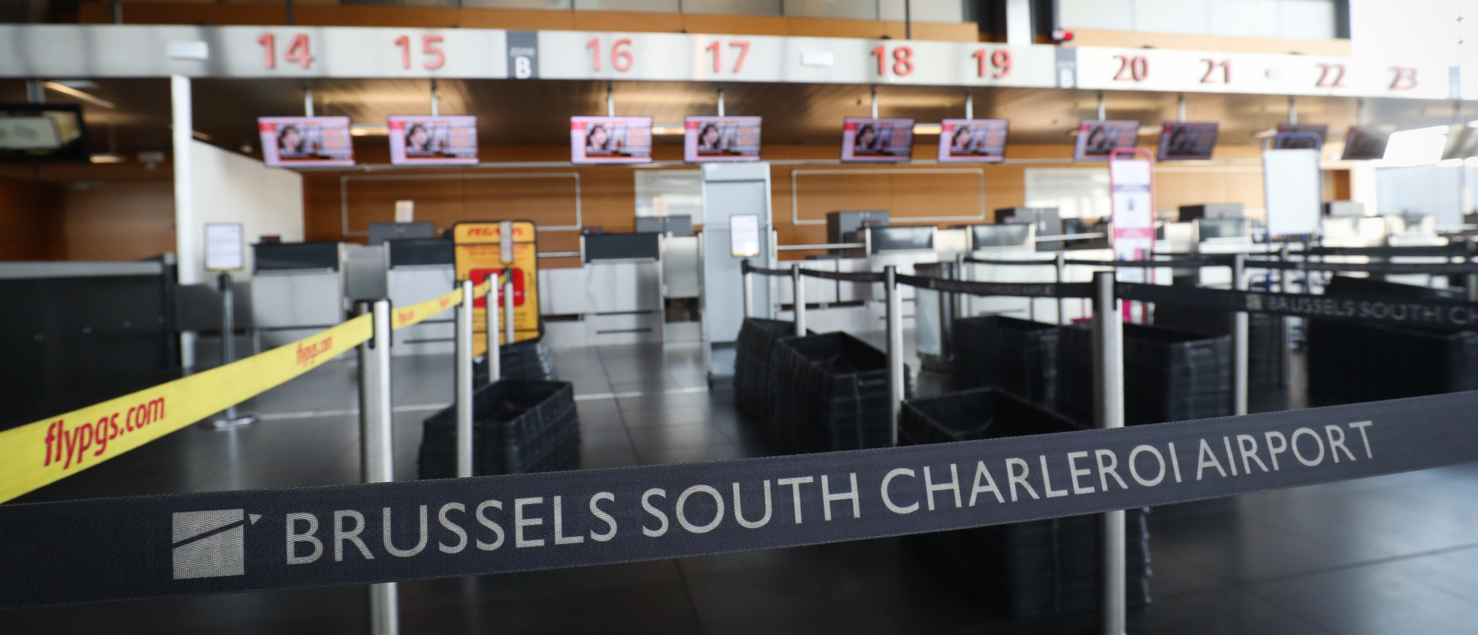 A picture shows the empty departure hall of Brussels Charleroi airport's south terminal as all the flights are cancelled during a national strike on February 13, 2019. (THIERRY ROGE/AFP/Getty Images)