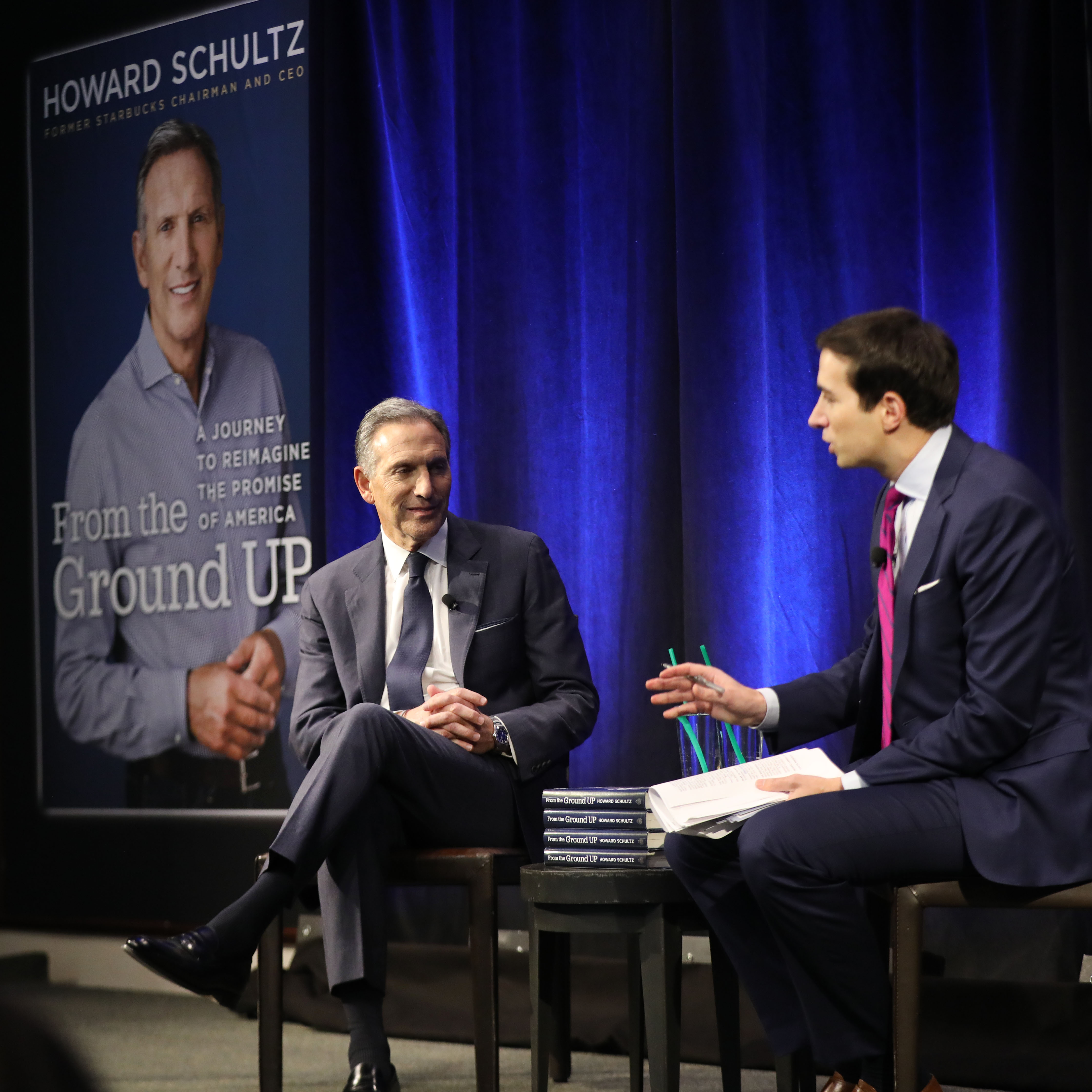 """Howard Schultz, the billionaire former Starbucks CEO, speaks at a Barnes and Noble bookstore with Andrew Ross Sorkin about his new book """"From the Ground Up"""" on January 28, 2019 in New York City. (Photo by Spencer Platt/Getty Images)"""