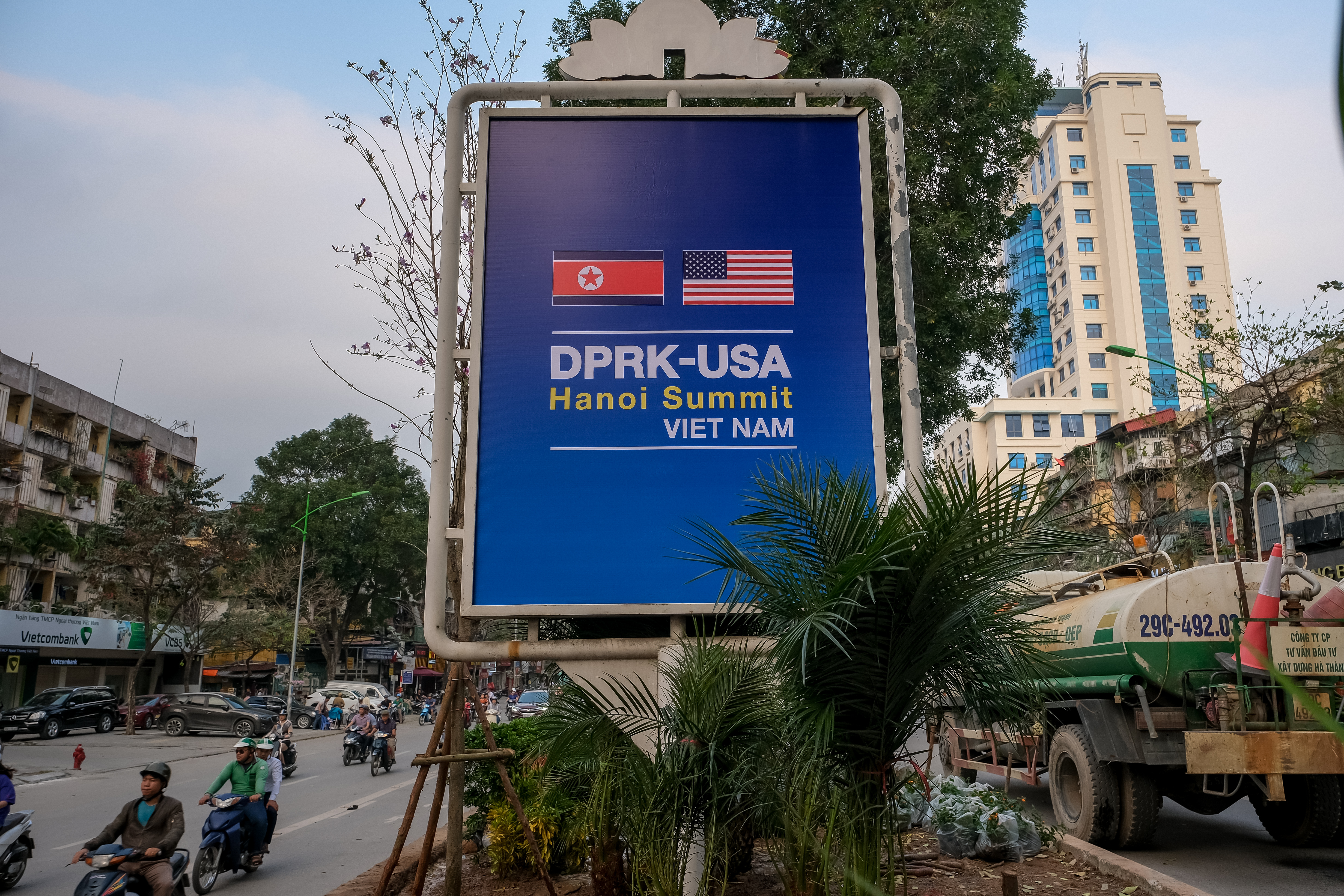 A public signboard welcomes the upcoming summit between U.S. President Donald Trump and North Korean leader Kim Jong Un on Giang Vo street near U.S. Embassy on February 20, 2019 in Hanoi, Vietnam. (Photo by Linh Pham/Getty Images)