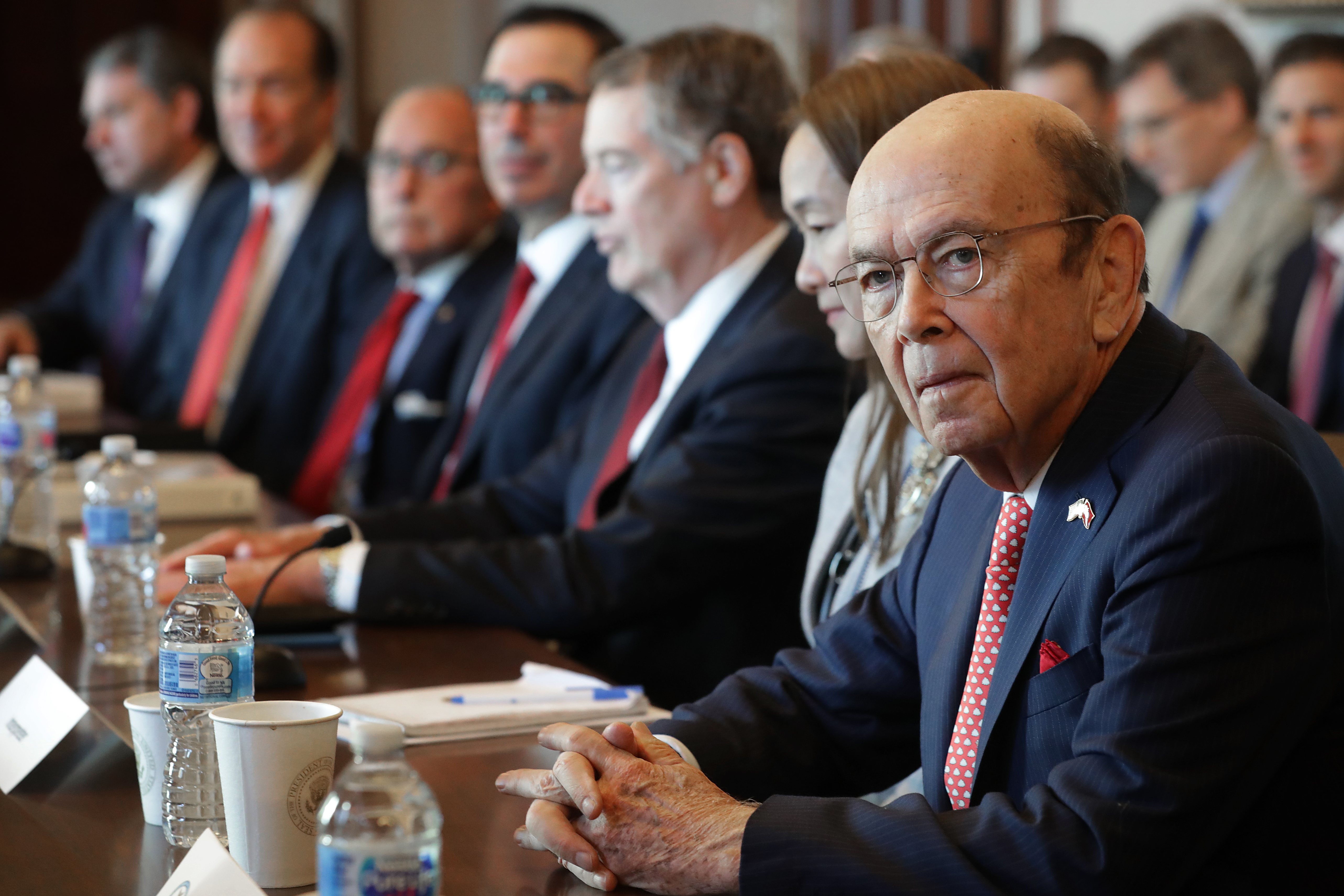 WASHINGTON, DC - JANUARY 30: Commerce Secretary Wilbur Ross (R) and other Trump Administration officials sit down with Chinese vice ministers and senior officials for trade negotiations in the Diplomatic Room at the Eisenhower Executive Office Building January 30, 2019 in Washington, DC. (Chip Somodevilla/Getty Images)
