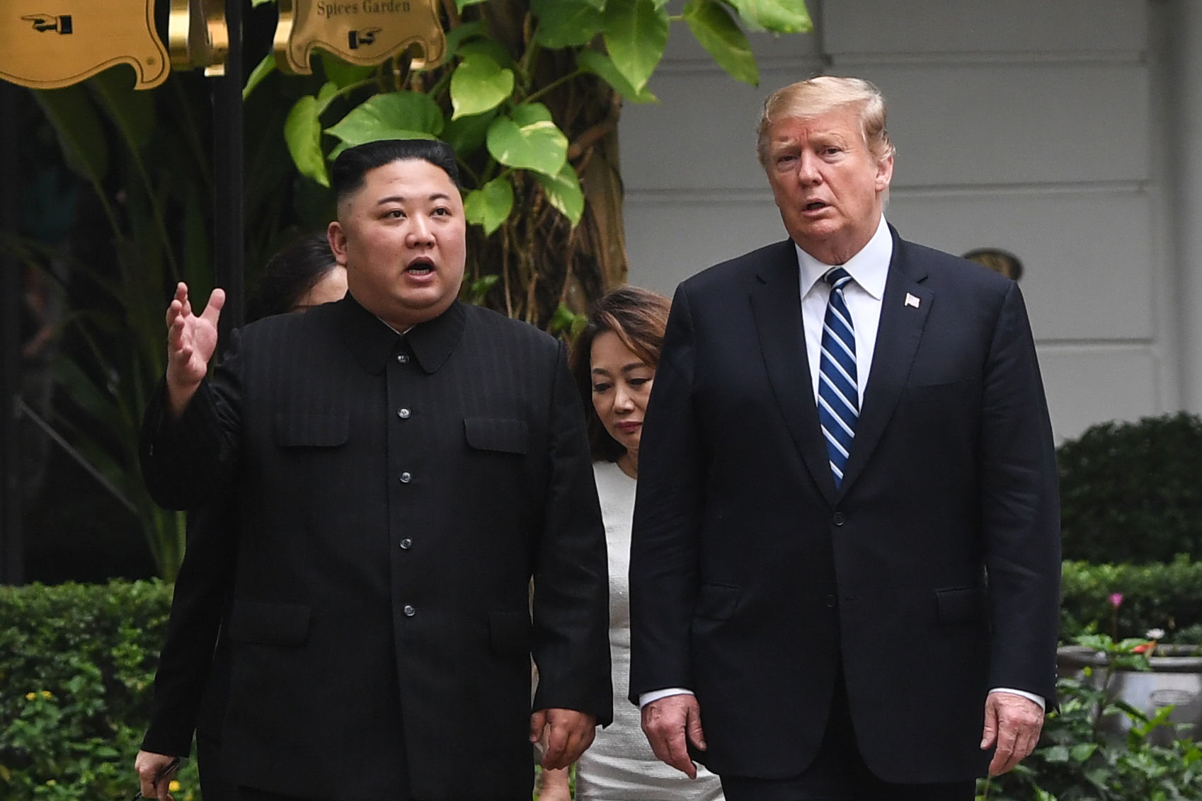 US President Donald Trump (R) walks with North Korea's leader Kim Jong Un during a break in talks at the second US-North Korea summit at the Sofitel Legend Metropole hotel in Hanoi on February 28, 2019. (Photo by Saul LOEB / AFP) (Photo credit should read SAUL LOEB/AFP/Getty Images)