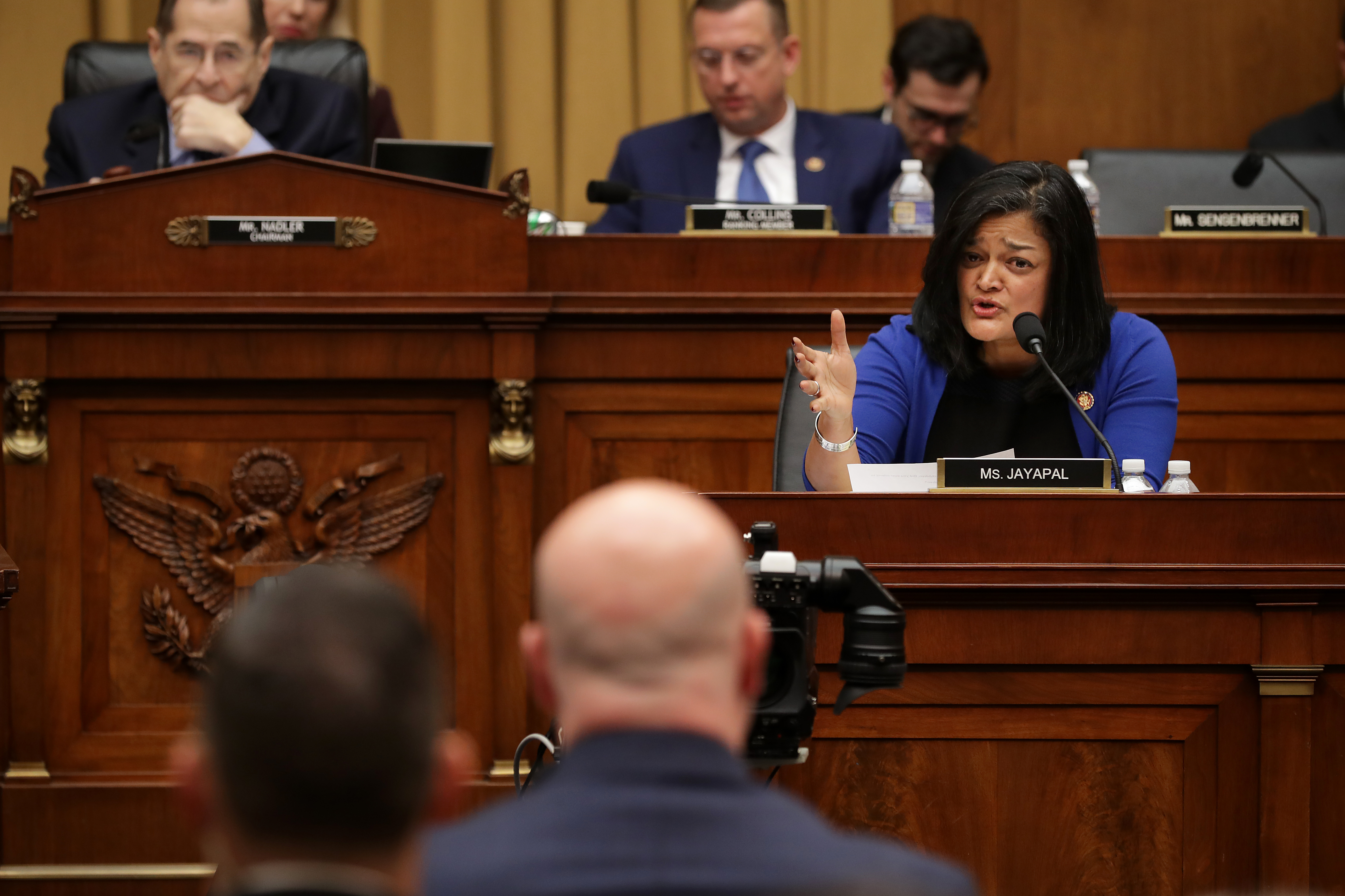 House Judiciary Committee member Rep. Pramila Jayapal questions Acting U.S. Attorney General Matthew Whitaker during an oversight hearing in the Rayburn House Office Building on Capitol Hill February 08, 2019 in Washington, DC. (Photo by Chip Somodevilla/Getty Images)