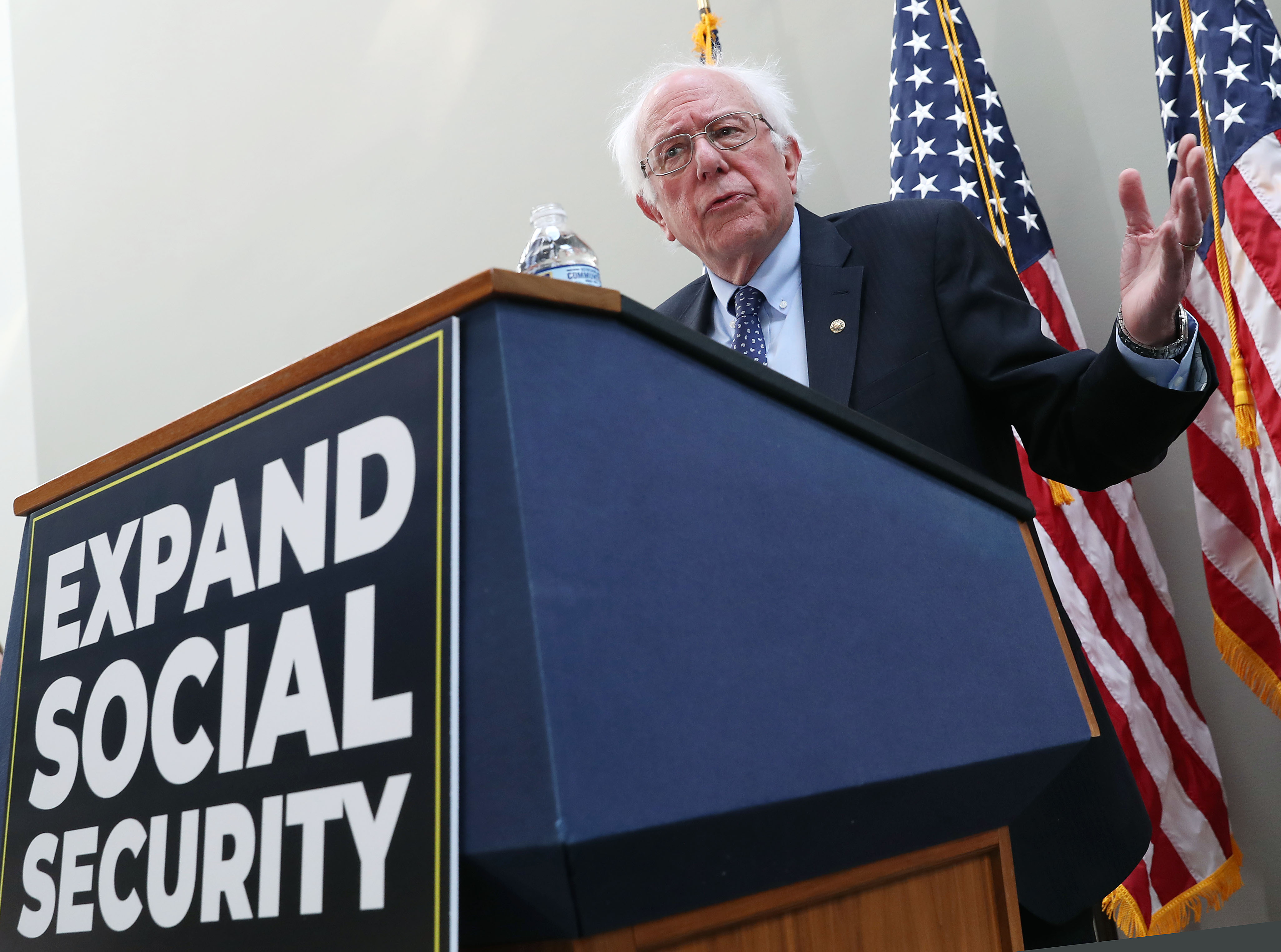 Sen. Bernie Sanders speaks during a news conference to announce legislation to expand Social Security, on Capitol Hill February 13, 2019 in Washington, DC. (Photo by Mark Wilson/Getty Images)
