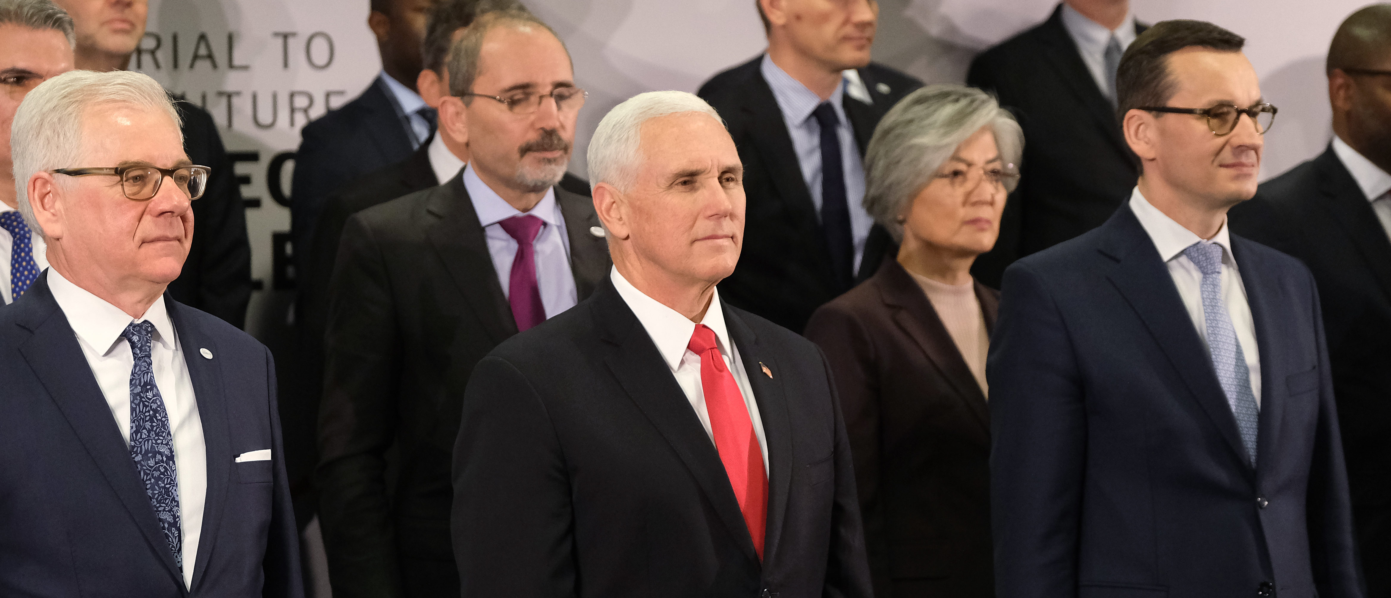 WARSAW, POLAND - FEBRUARY 14: U.S. Vice President Mike Pence (C) stands next to Polish Prime Minister Mateusz Morawiecki (R) and Polish Foreign Minister Jazek Czaputowicz at the group photo at the Ministerial to Promote a Future of Peace and Security in the Middle East on February 14, 2019 in Warsaw, Poland. (Sean Gallup/Getty Images)