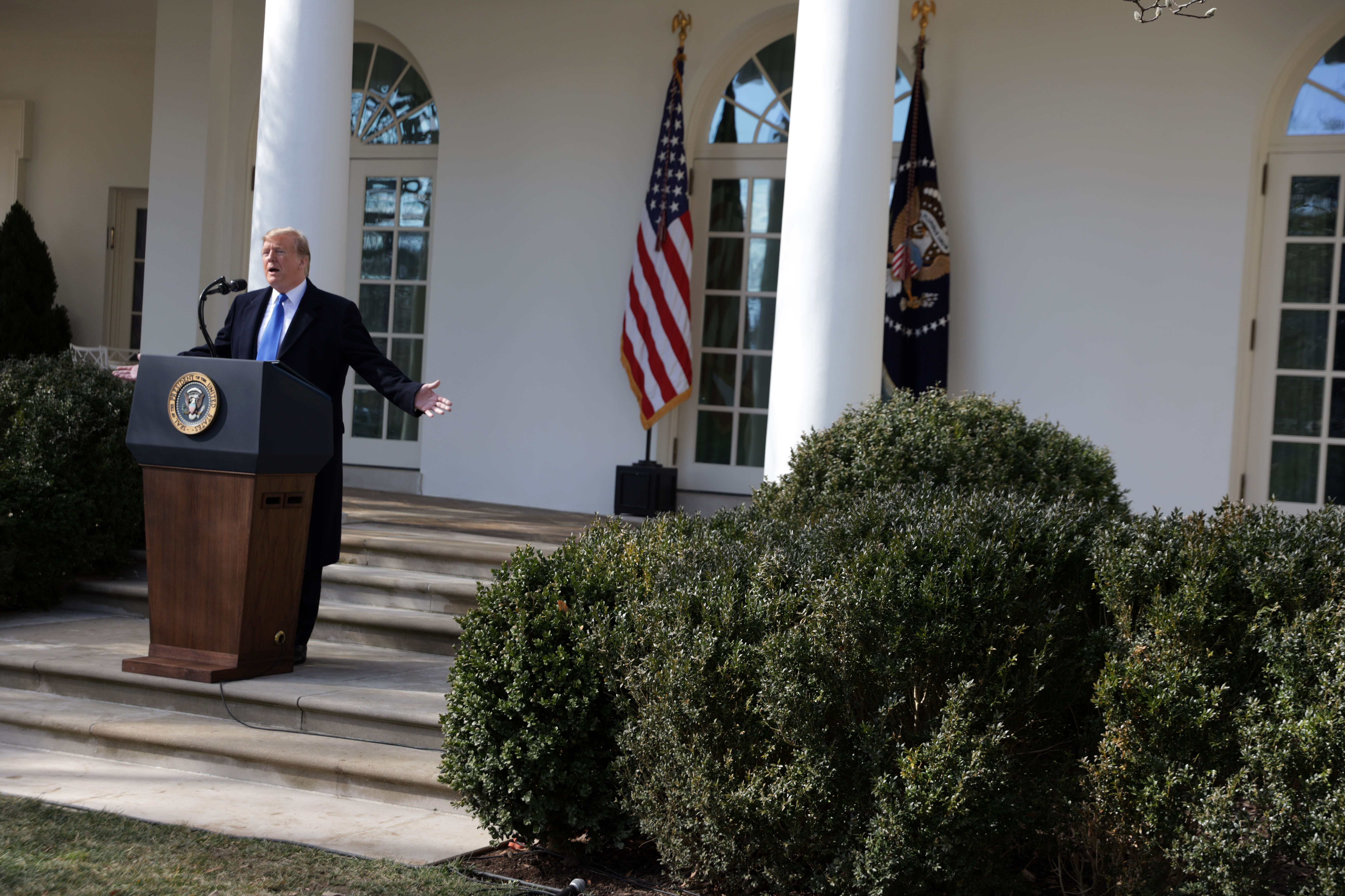 U.S. President Donald Trump speaks on border security during a Rose Garden event at the White House February 15, 2019 in Washington, DC. (Photo by Alex Wong/Getty Images)
