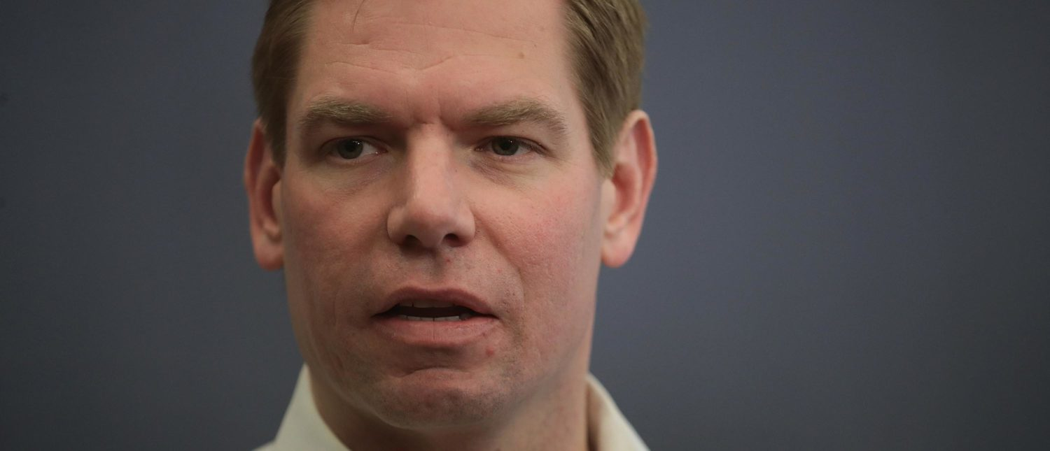 IOWA CITY, IOWA - FEBRUARY 18: Congressman Eric Swalwell (D-CA) speaks to guests during an event at the Iowa City Public Library on February 18, 2019 in Iowa City, Iowa. Swalwell has been making stops around Iowa talking to voters as he mulls a decision to seek the 2020 Democratic nomination for president. (Photo by Scott Olson/Getty Images)