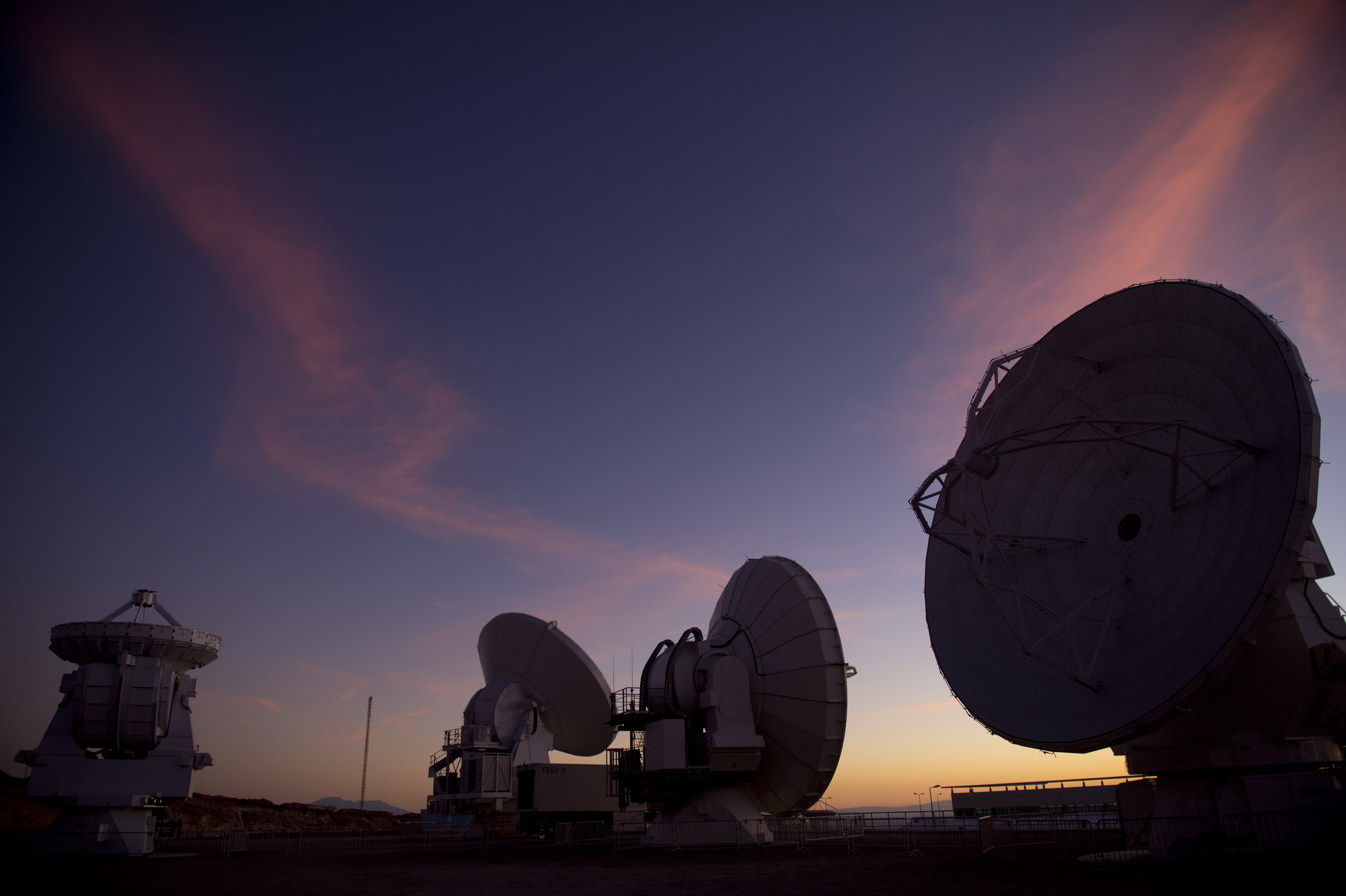 Radio telescope antennas of the ALMA ( Atacama Large Millimeter/submillimeter Array) project are seen in the Chajnantor plateau, Atacama desert, some 1500 km north of Santiago, on March 12,2013. (MARTIN BERNETTI/AFP/Getty Images)
