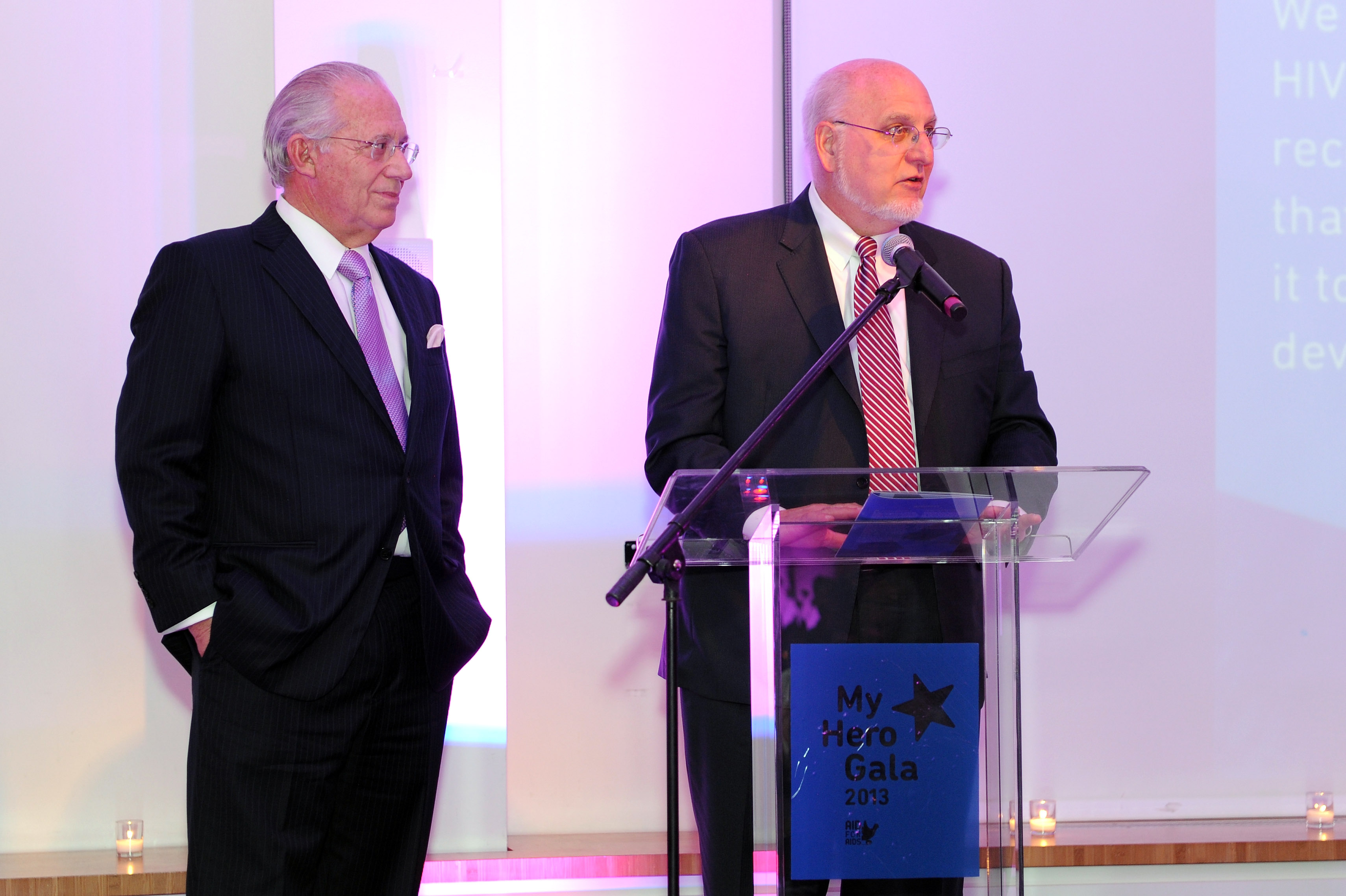 "(L-R) William Haseltine and honoree Dr. Robert Redfield speak during the Aid for AIDS ""My Hero Gala"" 2013 at Three Sixty on November 5, 2013 in New York City. (Photo by Craig Barritt/Getty Images for Aid for Aids)"