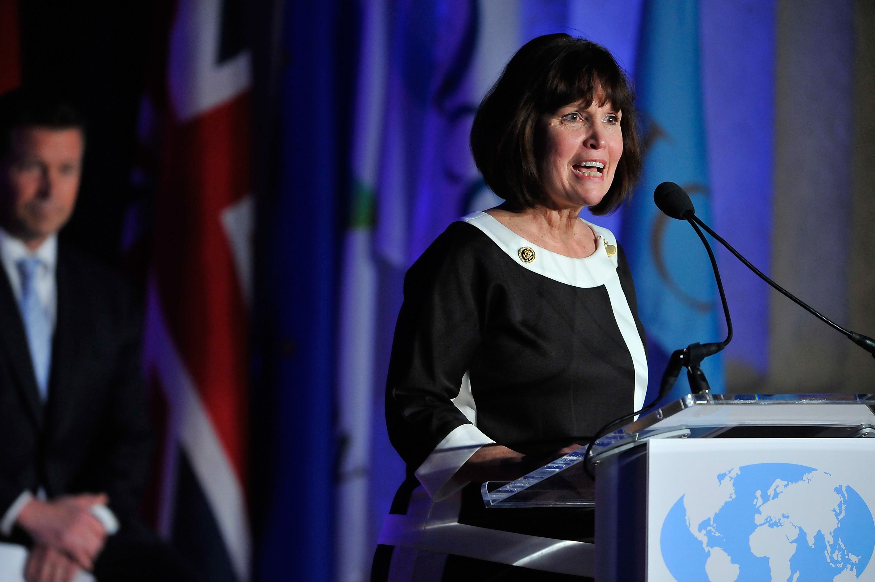 The Honorable Betty McCollum, International Conservation Caucus Foundation Co-Chair and member of the US House of Representatives, speaks at the International ICCF gala before presenting Prince Charles, Prince of Wales, with the Teddy Roosevelt Award for Exceptional Leadership in Conservation on March 19, 2015 in Washington, DC. (Photo by Larry French/Getty Images)