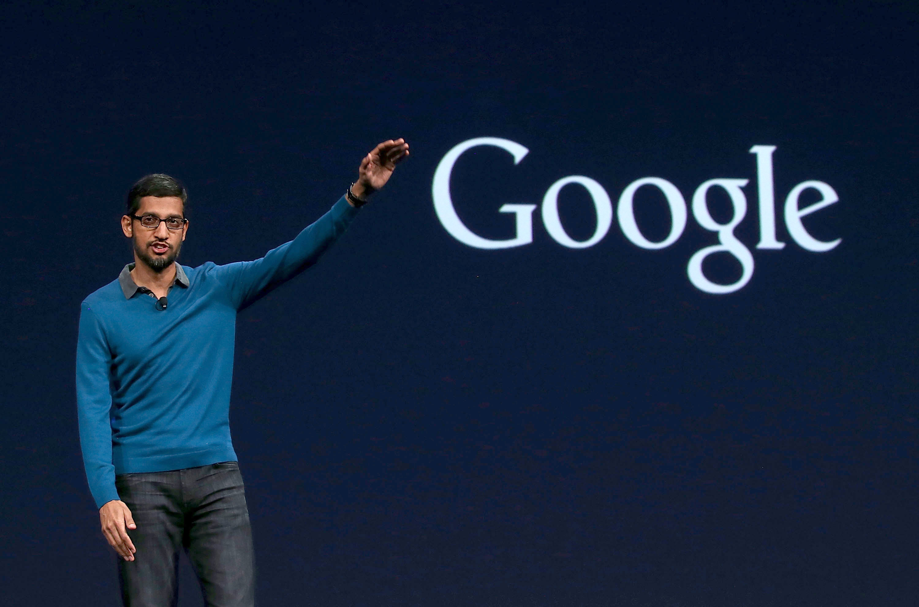 Google senior vice president of product Sundar Pichai delivers the keynote address during the 2015 Google I/O conference on May 28, 2015 in San Francisco, California. (Photo by Justin Sullivan/Getty Images)