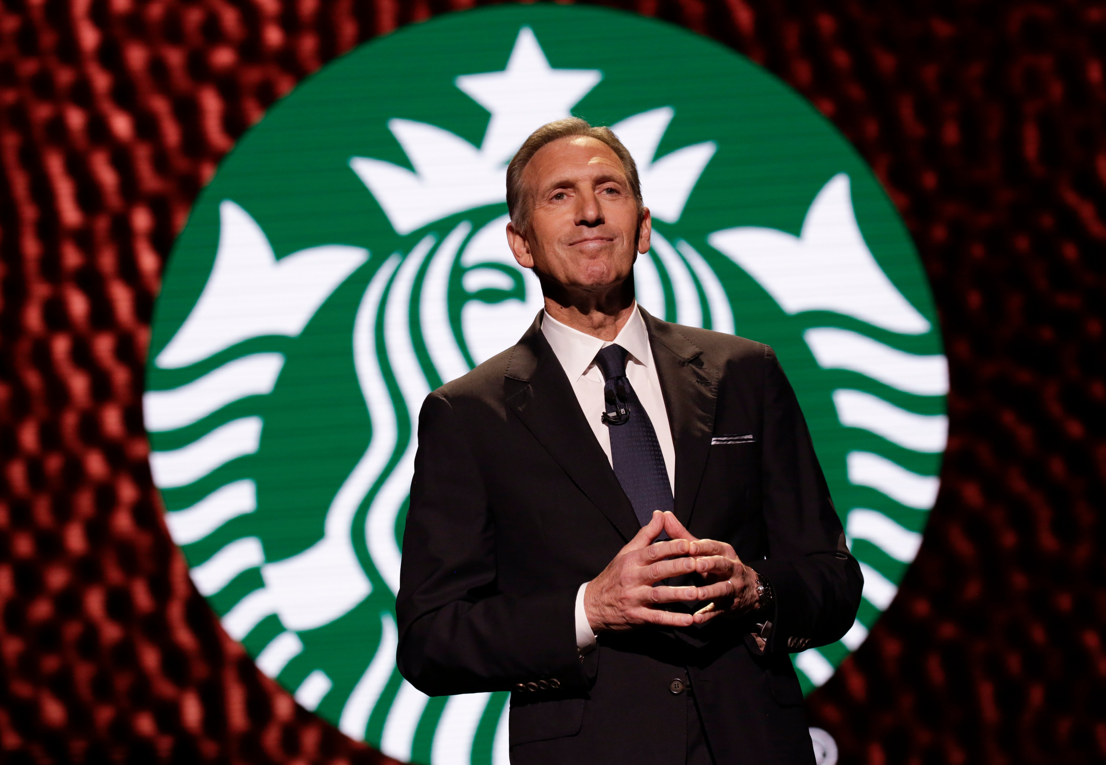 Starbucks Chairman and CEO Howard Schultz speaks at the Annual Meeting of Shareholders in Seattle, Washington on March 22, 2017. (JASON REDMOND/AFP/Getty Images)